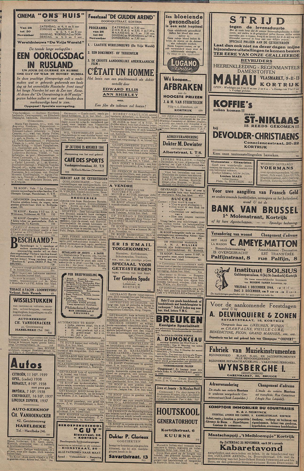 Kortrijksch Handelsblad 24 november 1944 Nr11 p2