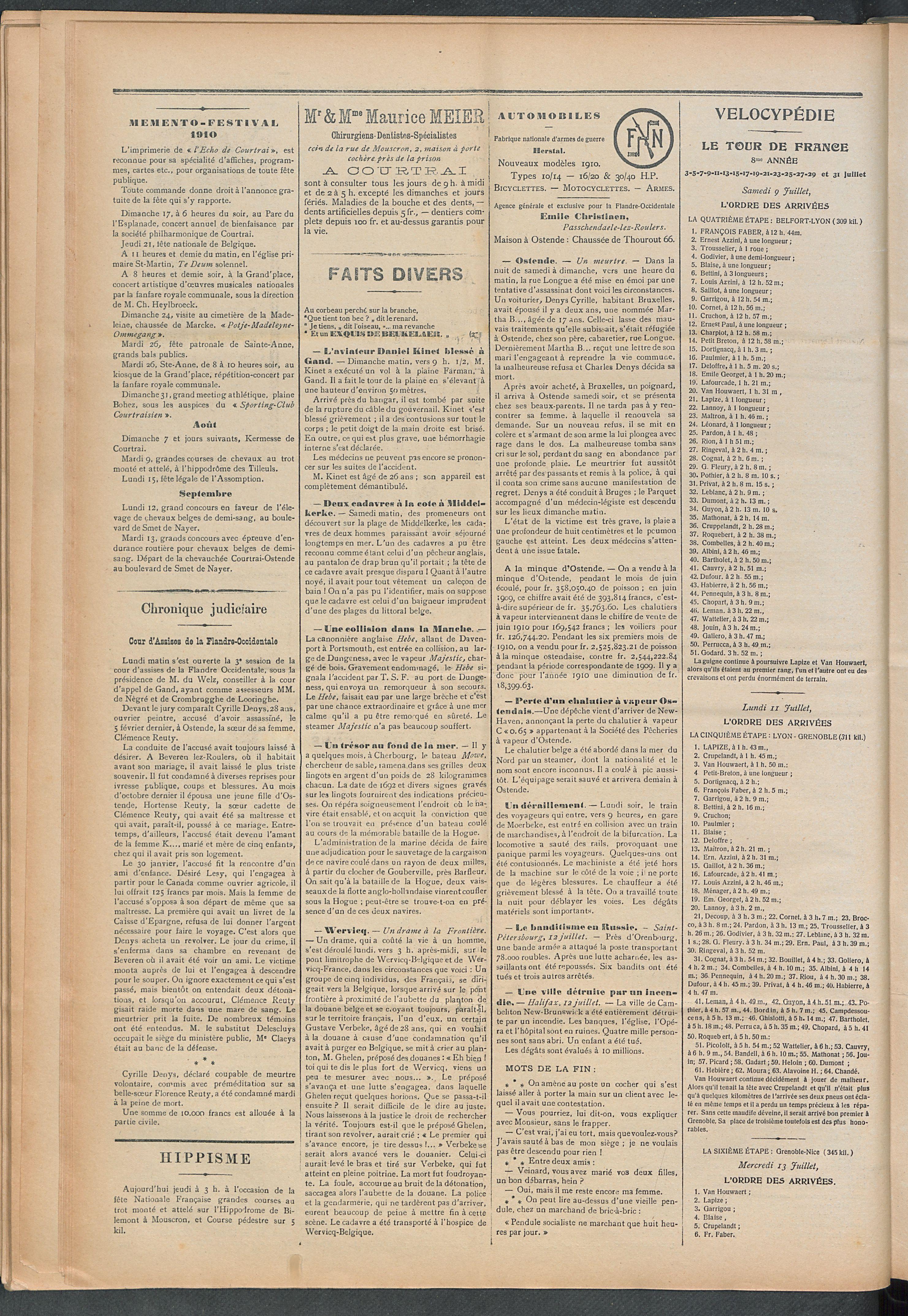 L'echo De Courtrai 1910-07-14 p2