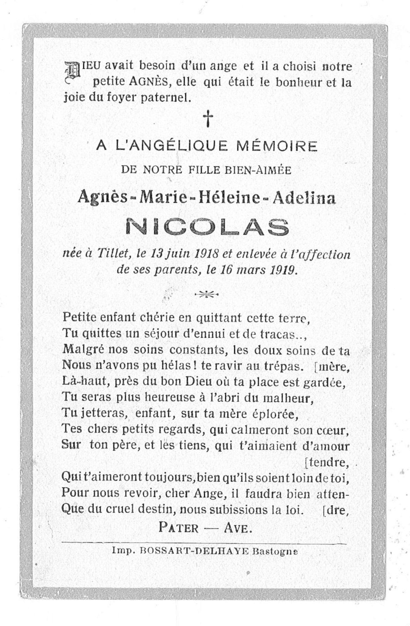 Agnès-Marie-Héleine-Adelina Nicolas