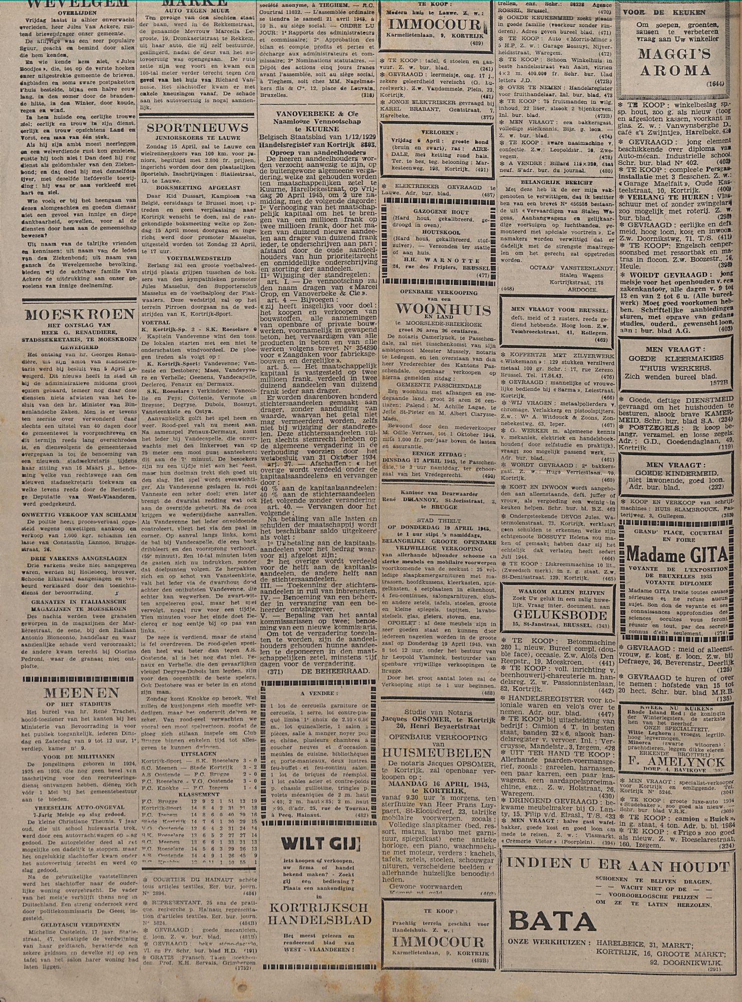 Kortrijksch_Handelsblad 11 april 1945 Nr29 p2