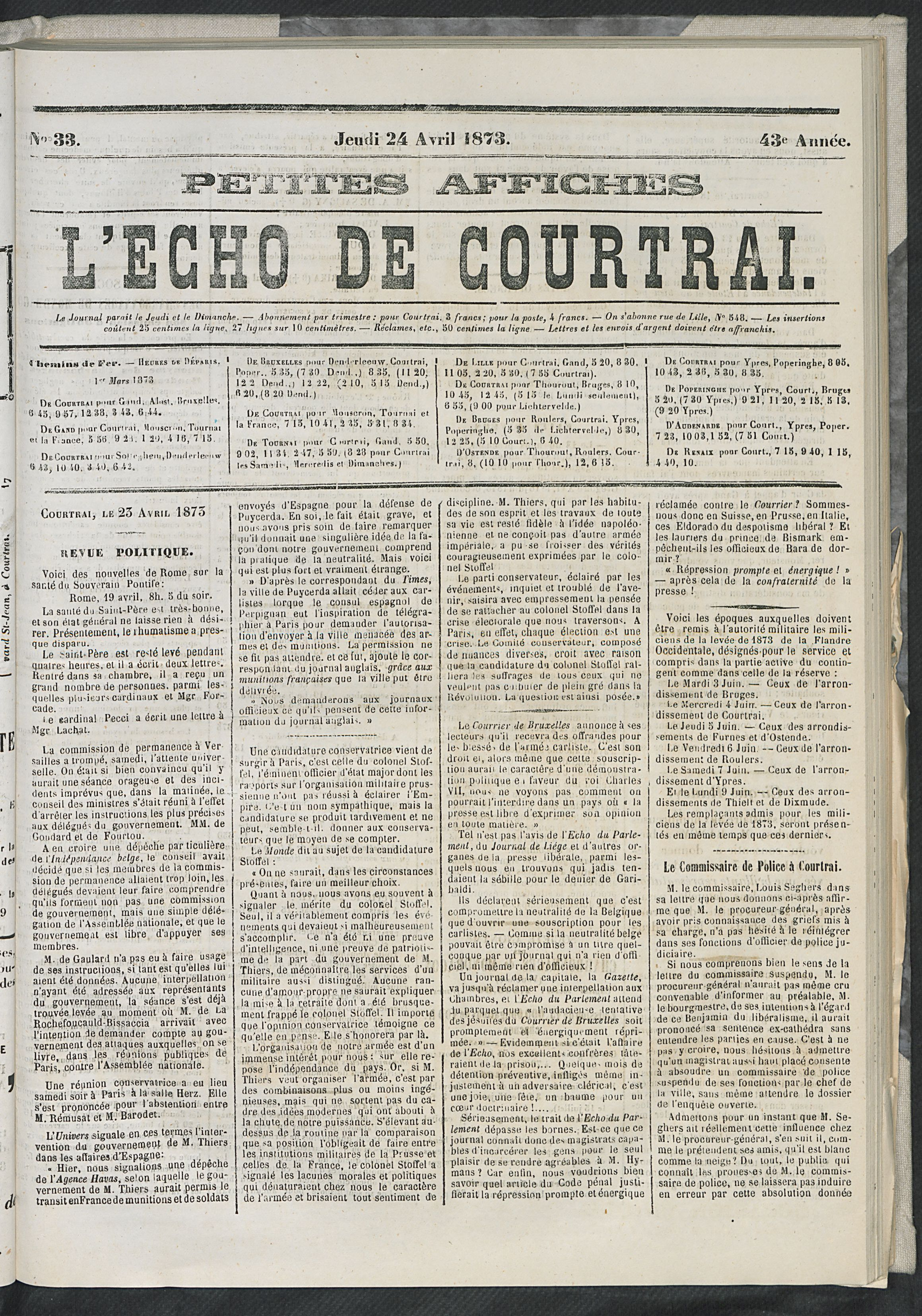 L'echo De Courtrai 1873-04-24 p1
