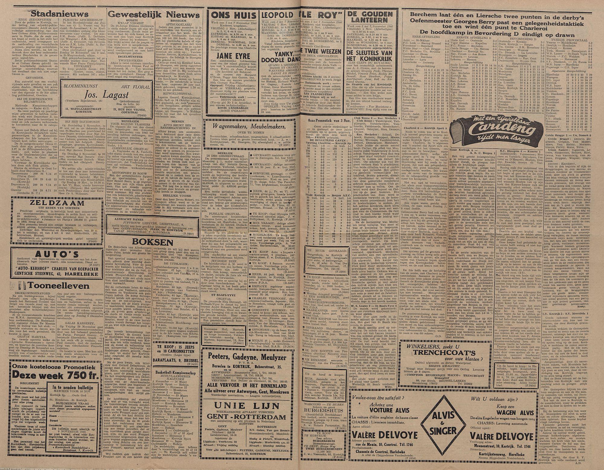 Kortrijksch Handelsblad 5 november 1946 Nr89 p2-3