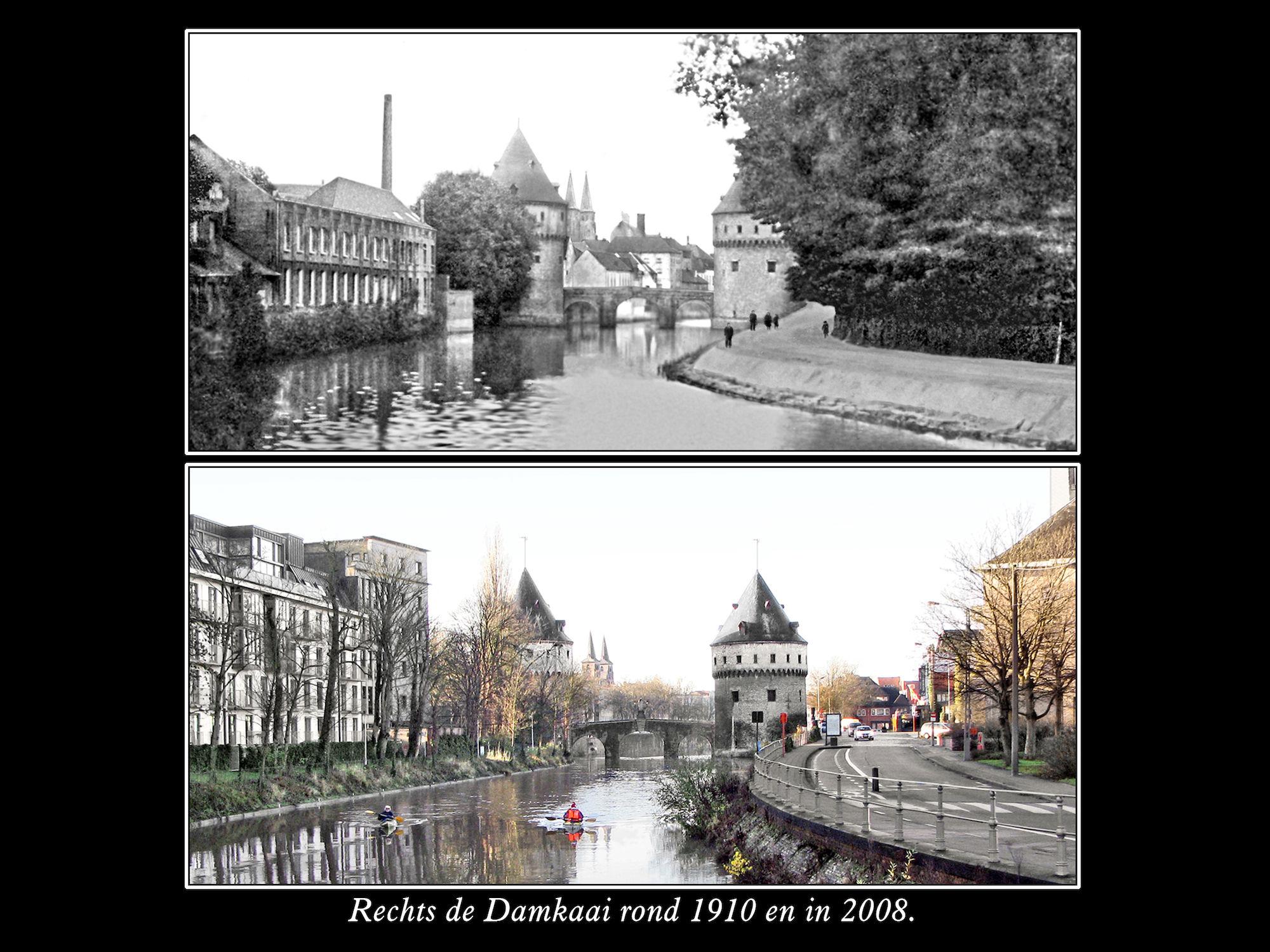 Damkaai en Broeltorens rond 1910 en in 2008