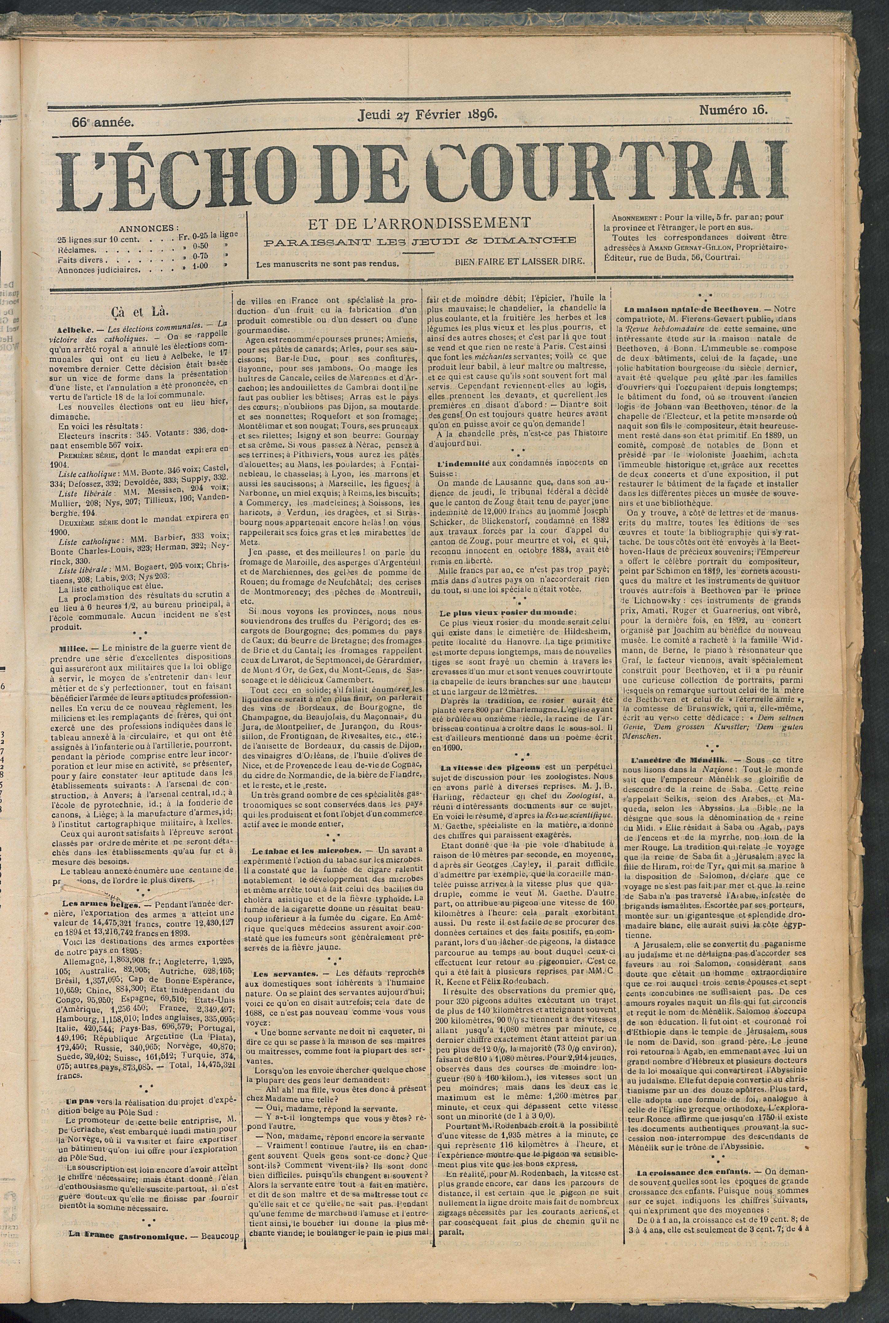 L'echo De Courtrai 1896-02-27 p1