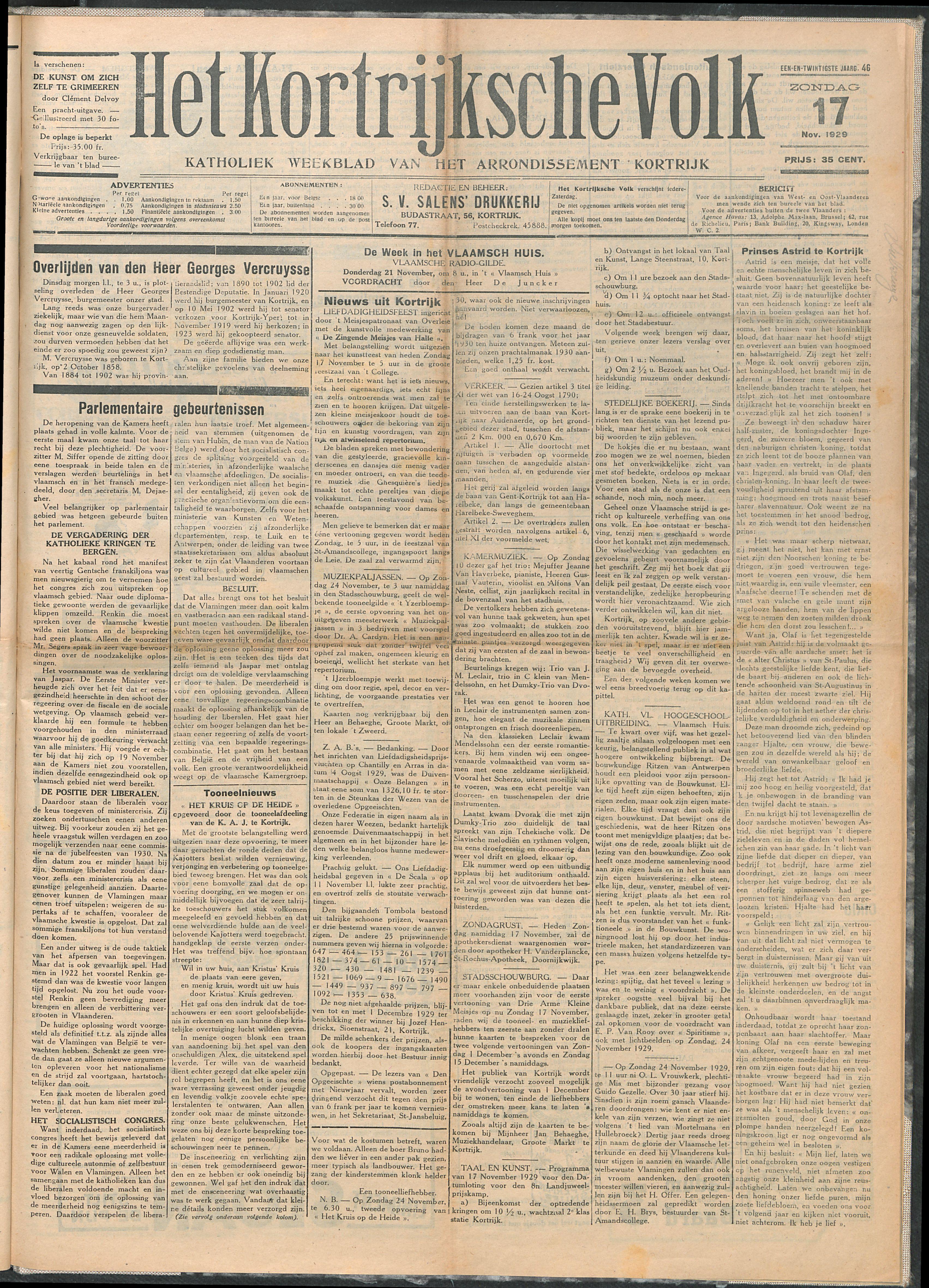 Het Kortrijksche Volk 1929-11-17 p1