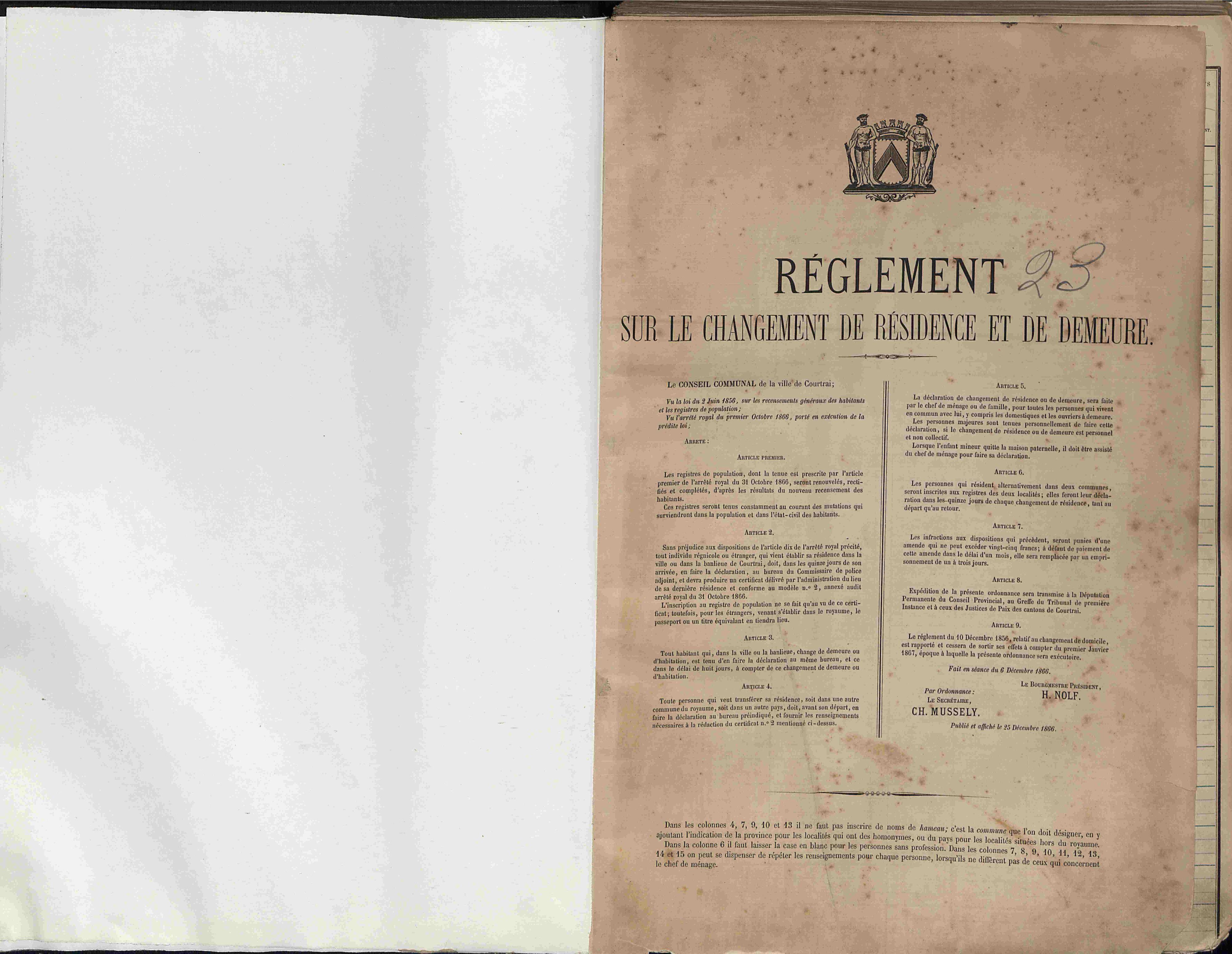 Bevolkingsregister Kortrijk 1866 boek 23