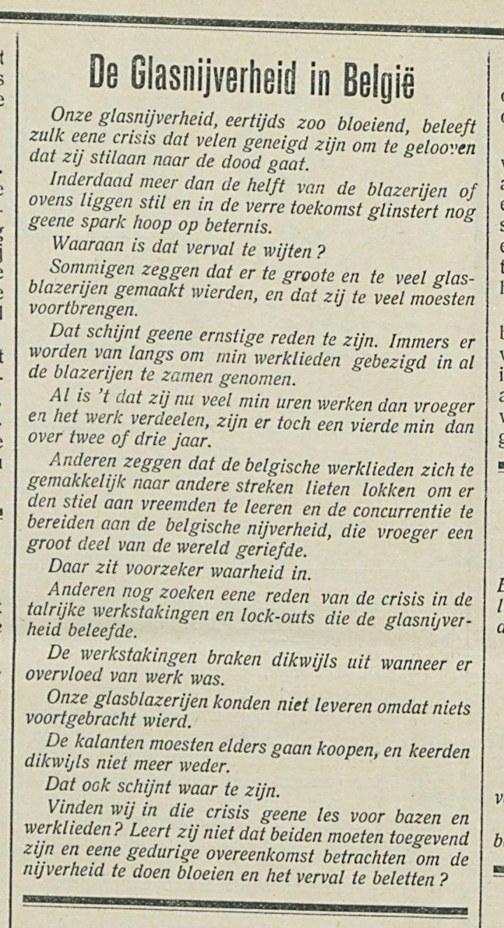 De Glasnijverheid in Belgie