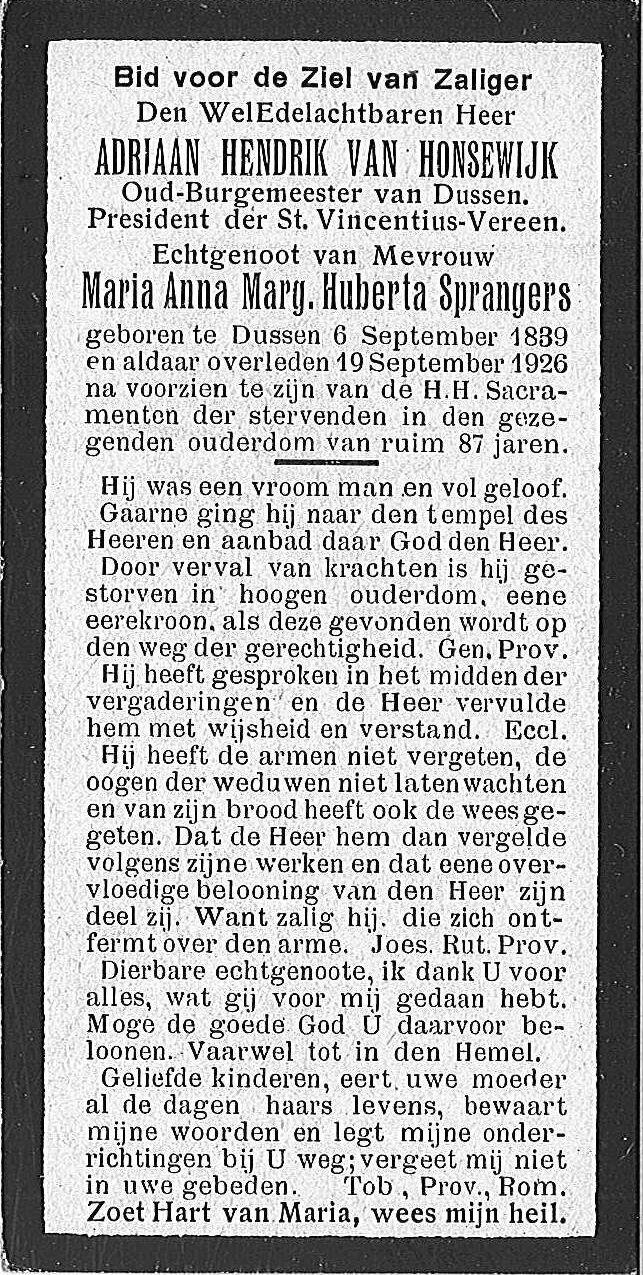 Adriaan Hendrik Van Honsewijk