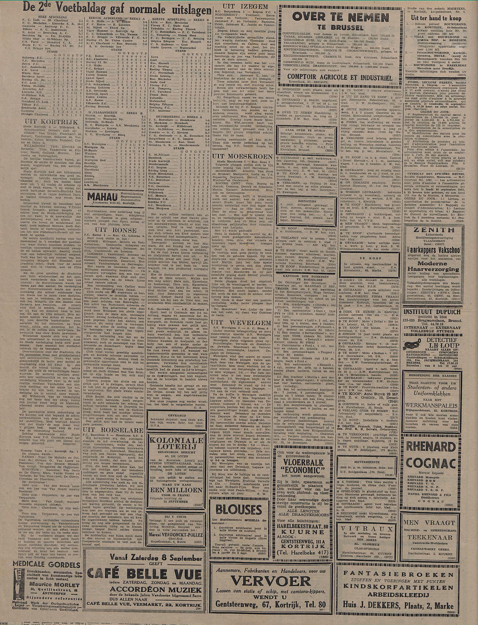 Kortrijksch Handelsblad 5 september 1945 Nr71 p2