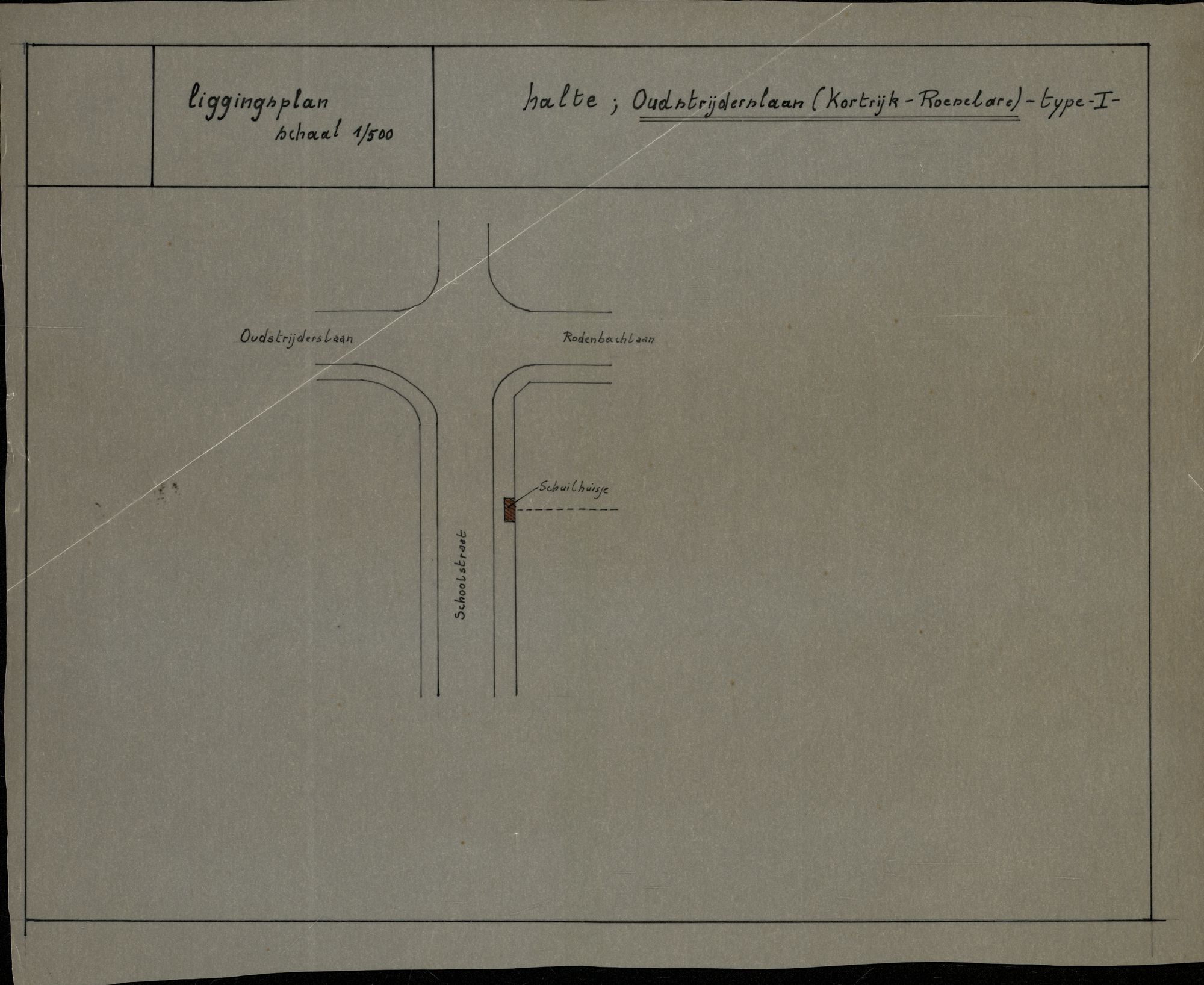 Plan van de bushalte Oudstrijderslaan (na de fusie Rodenbachlaan) op de lijn Kortrijk-Roeselare in Heule, 2de helft 20ste eeuw
