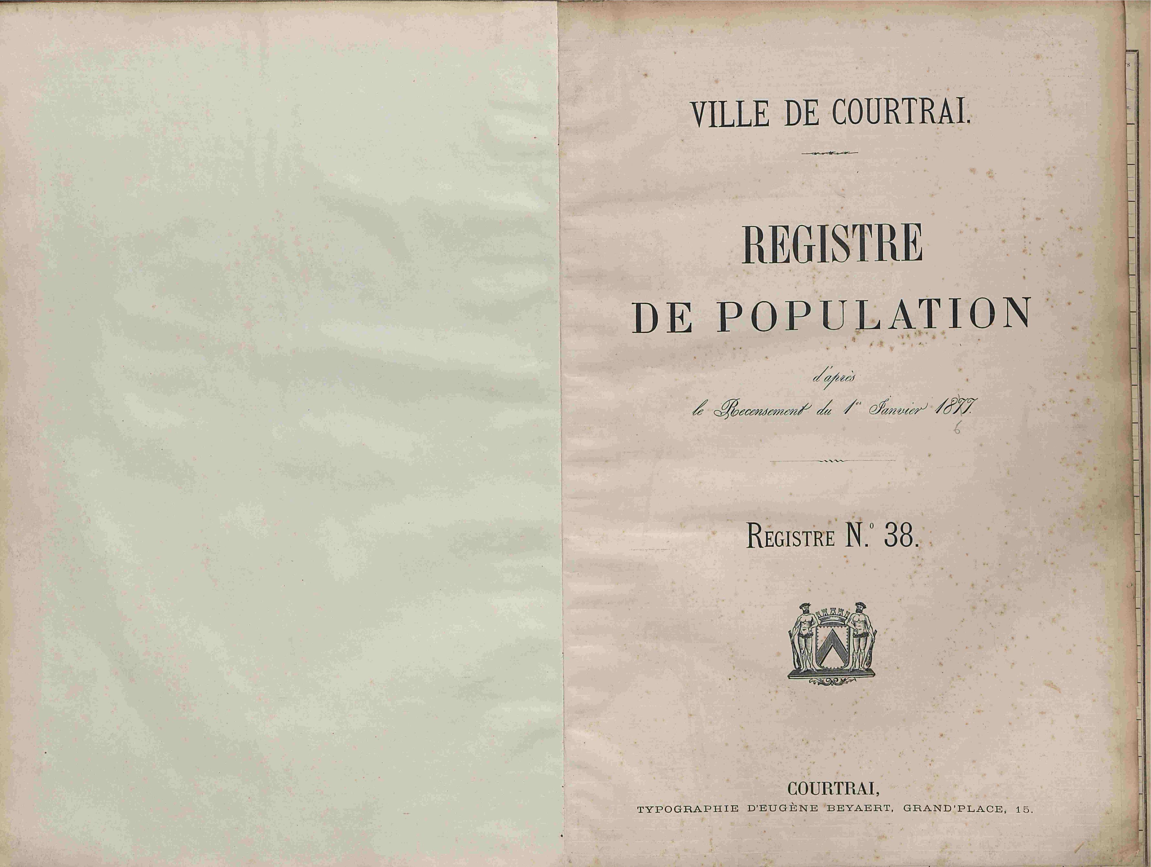 Bevolkingsregister Kortrijk 1866 boek 38