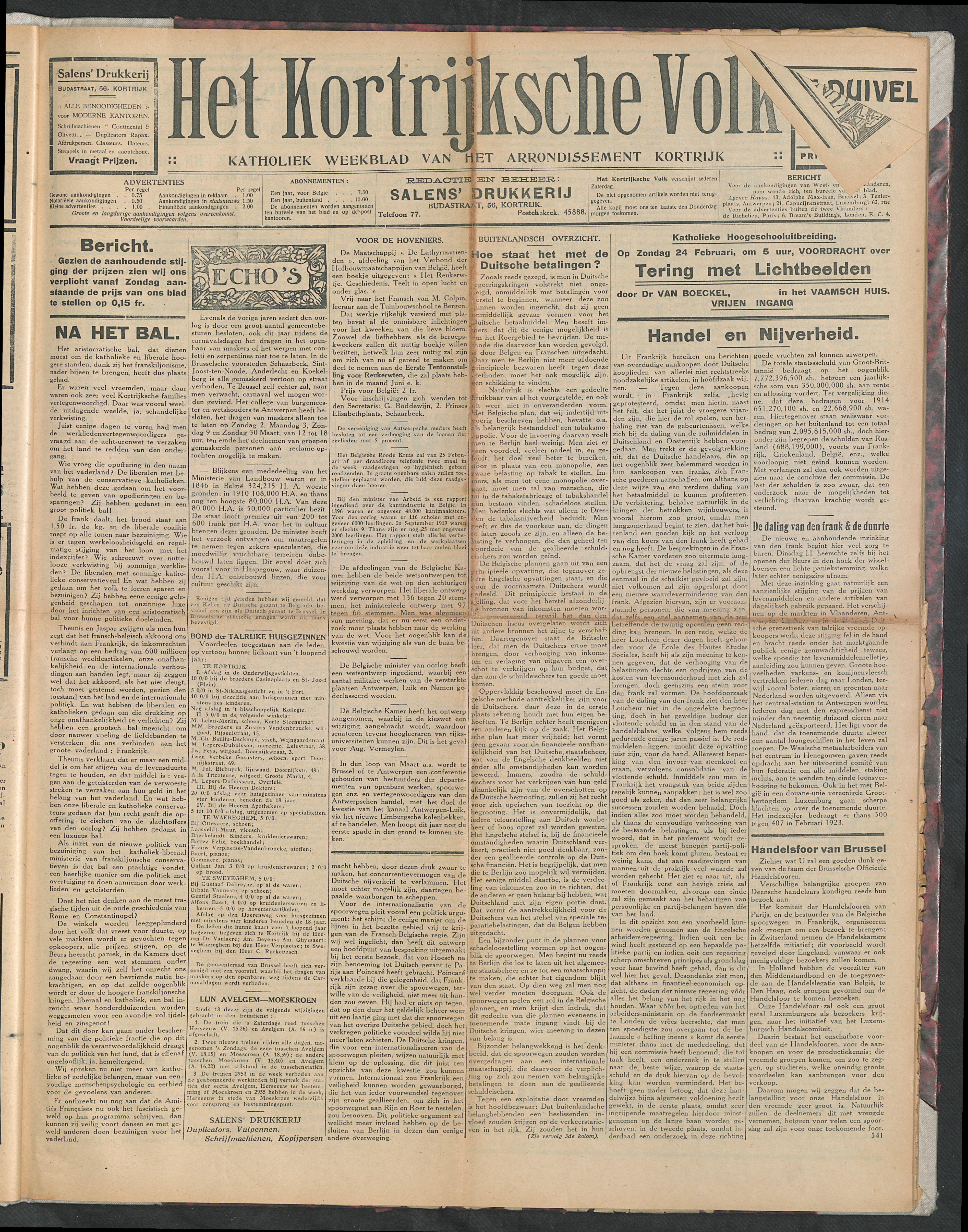 Het Kortrijksche Volk 1924-02-24 p1