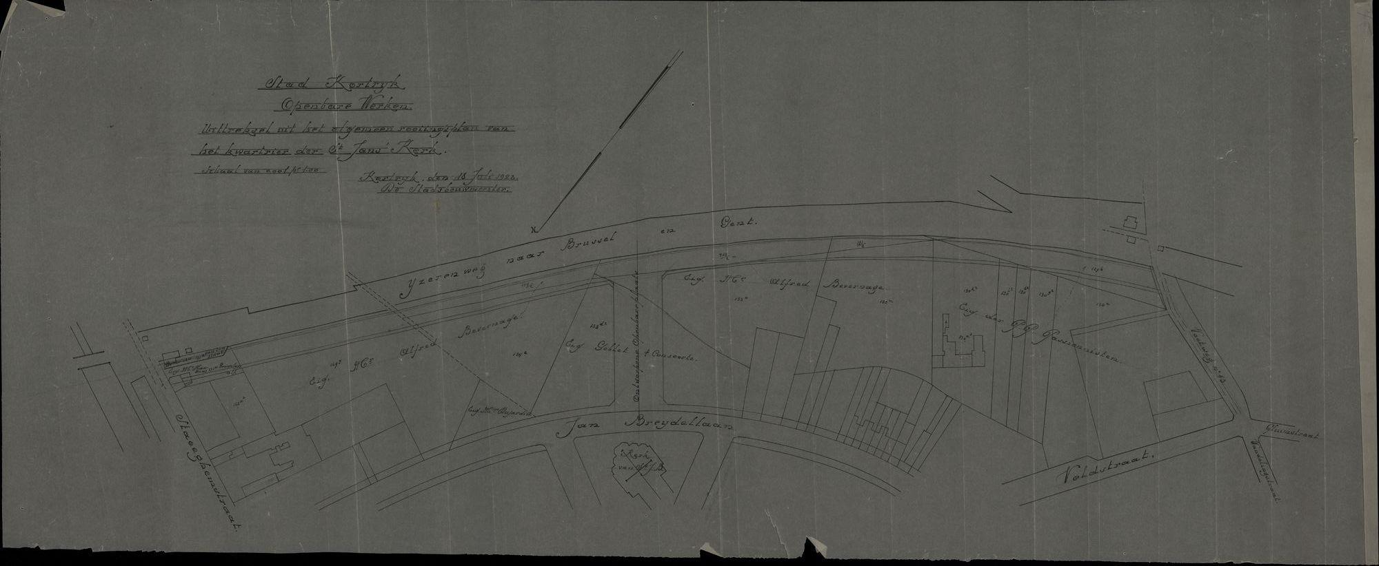 Uittreksel uit het algemeen rooiingsplan van het kwartier van de Sint-Janskerk te Kortrijk, 1923