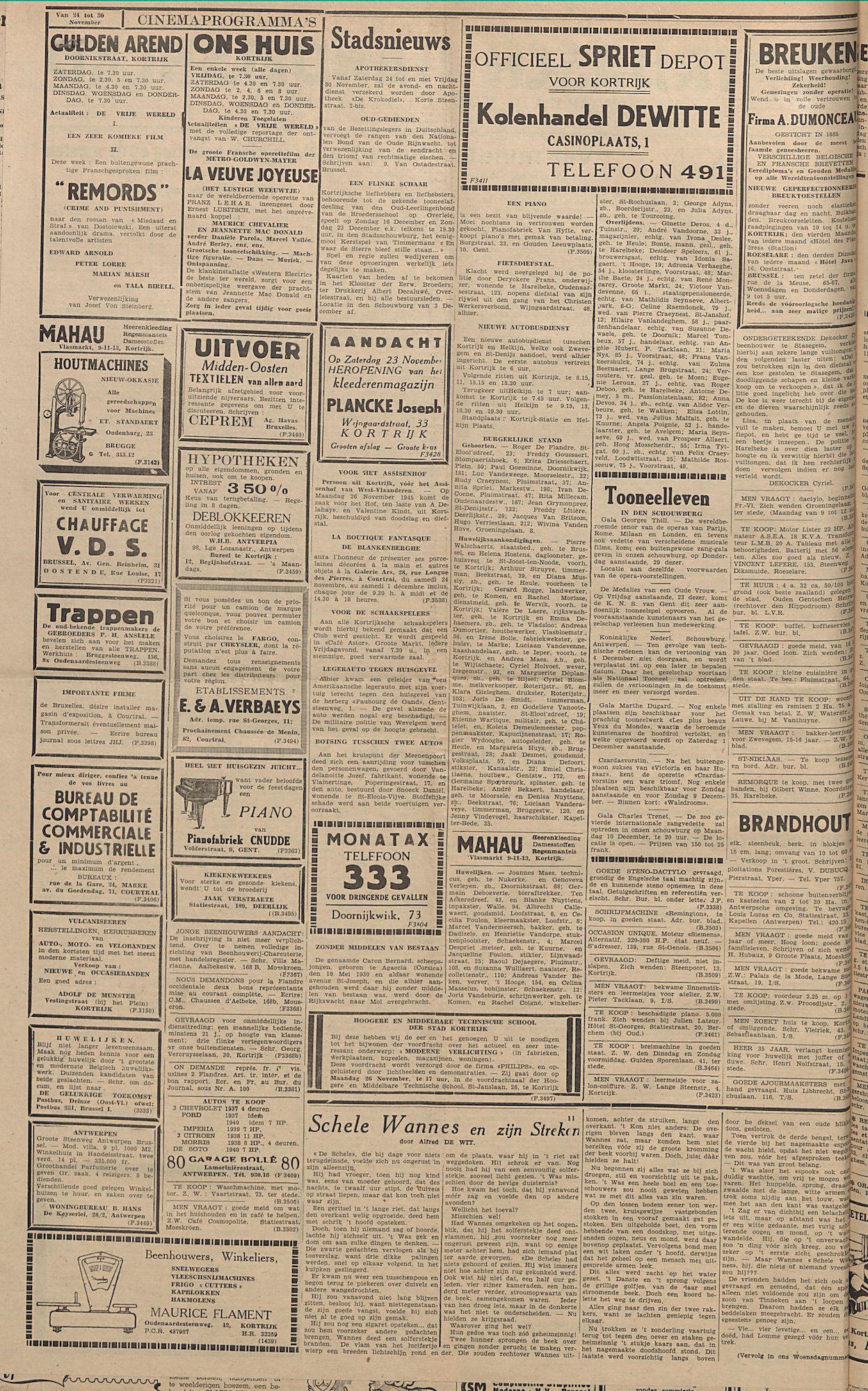 Kortrijksch Handelsblad 23 november 1945 Nr94 p2