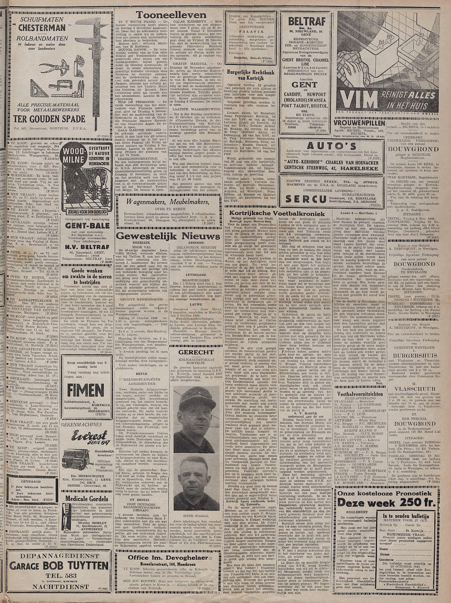 Kortrijksch Handelsblad 25 oktober 1946 Nr86 p3