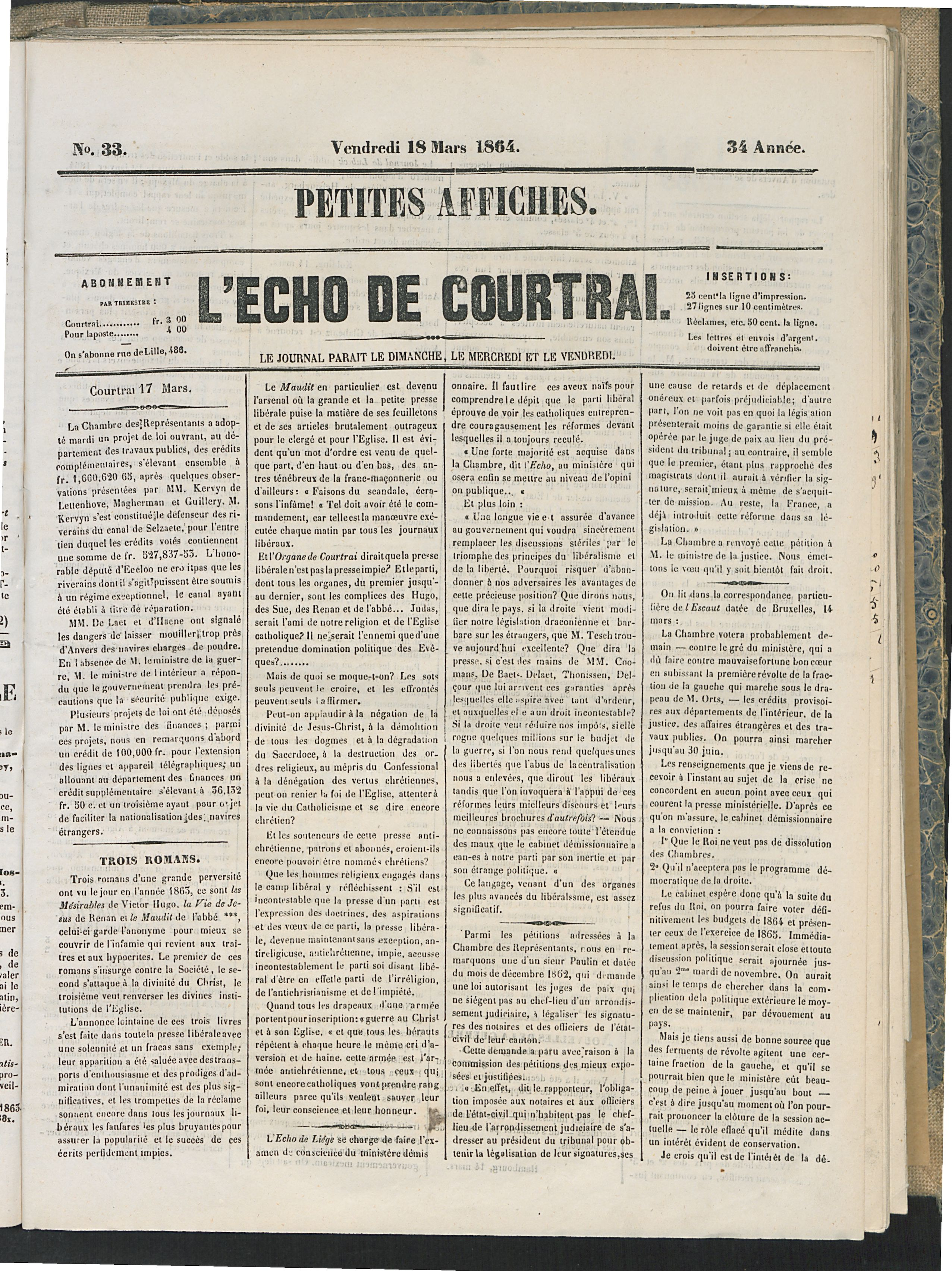 L'echo De Courtrai 1864-03-18 p1