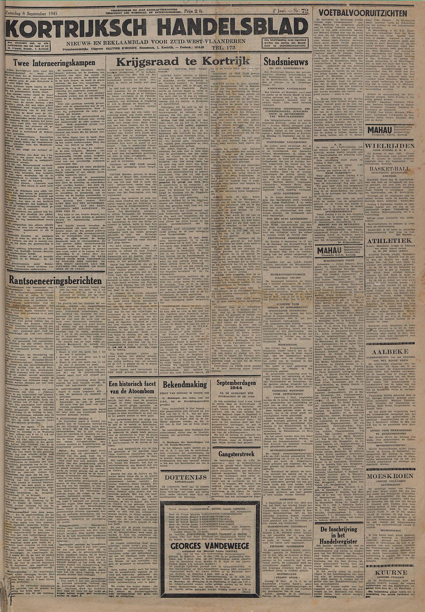 Kortrijksch Handelsblad 8 september 1945 Nr72 p1