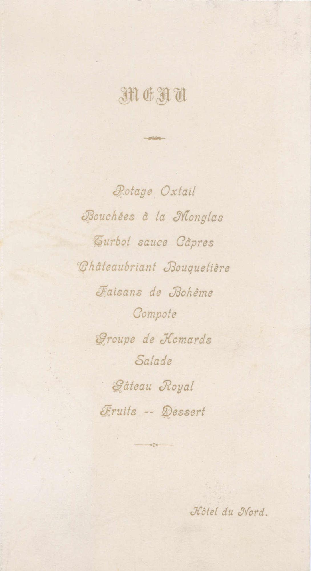 Menukaart feestmaal  Koning Albert (deel 2/2)
