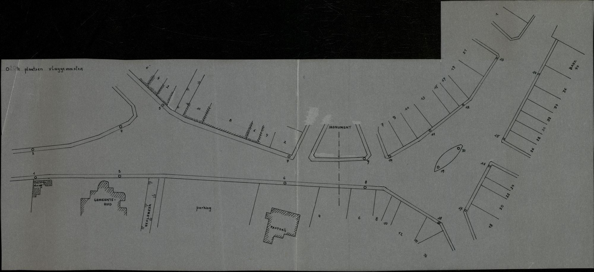 Plan van te plaatsen vlaggemasten in het centrum te Heule, 2de helft 20ste eeuw