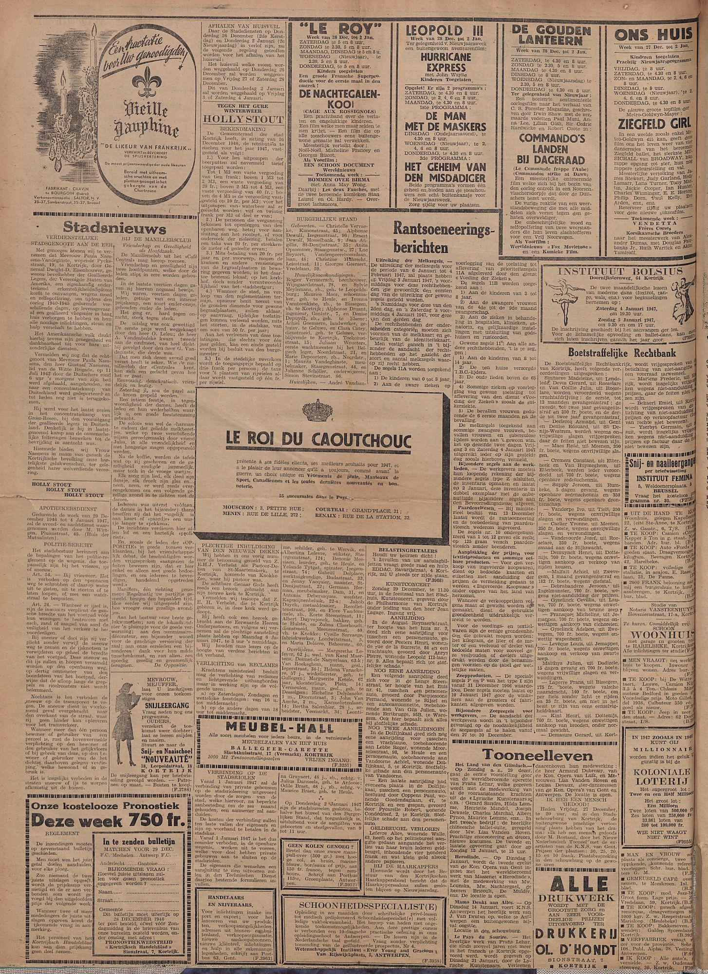 Kortrijksch Handelsblad 27 december 1946 Nr104 p2