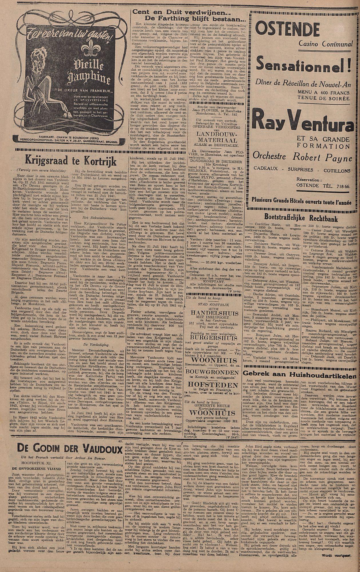 Kortrijksch Handelsblad 24 december 1946 Nr103 p4