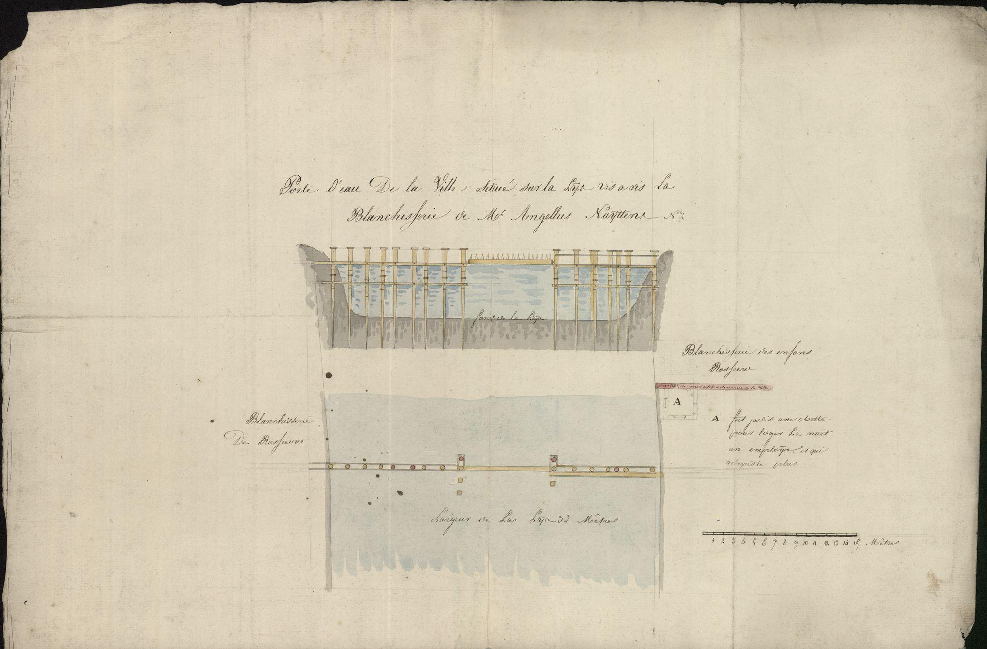 Bouwplan van de Waterpoort op de Leie t.o.v. de blekerij van de kinderen Rosseeuw en Angelus Nuyttens te Kortrijk, 1ste helft 19de eeuw