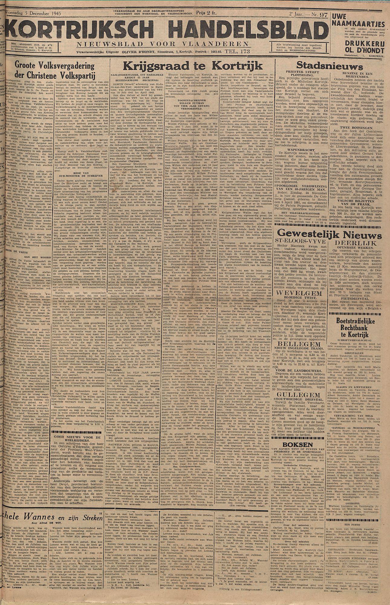 Kortrijksch Handelsblad 5 december 1945 Nr97 p1