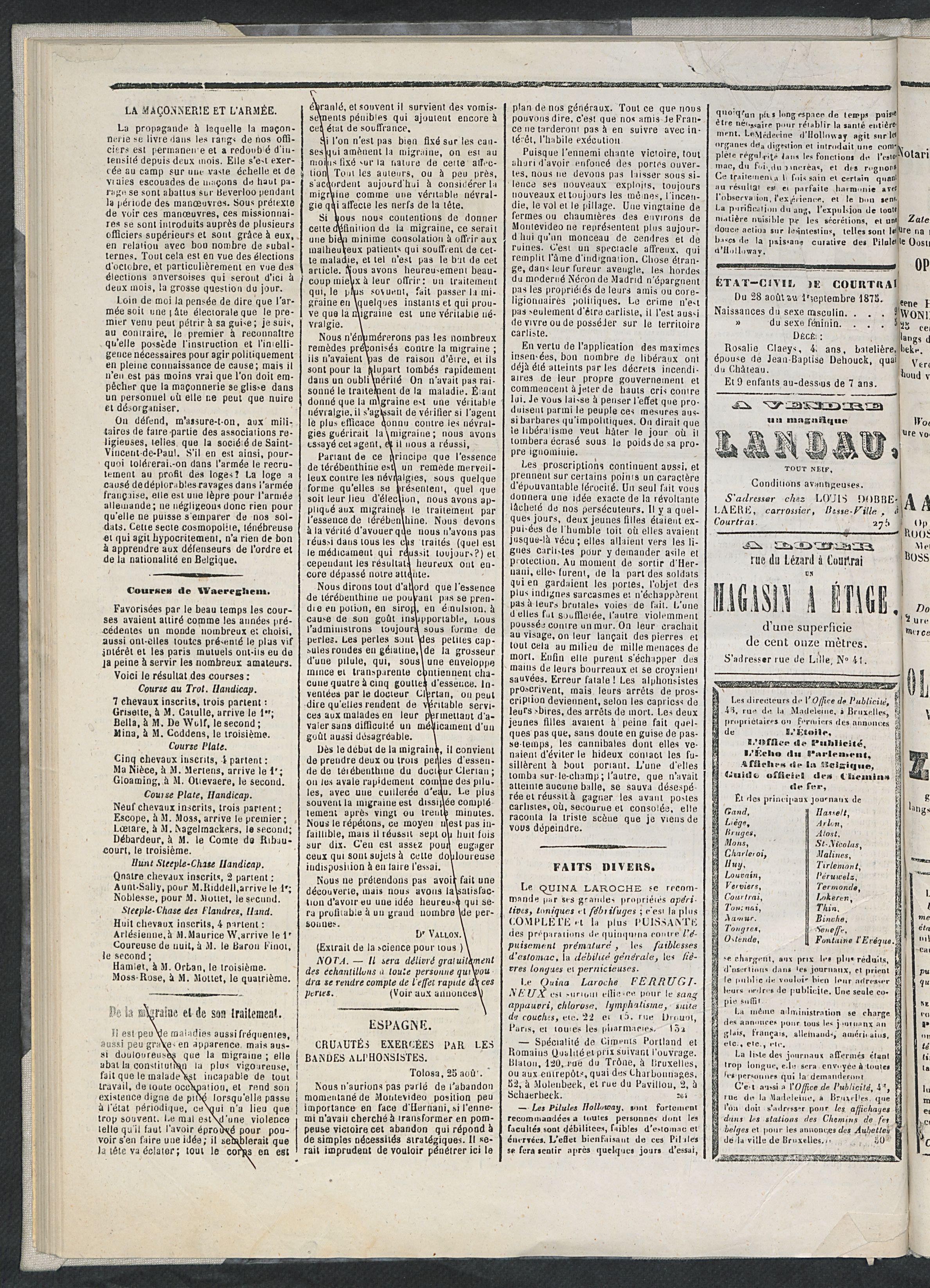 L'echo De Courtrai 1875-09-02 p2