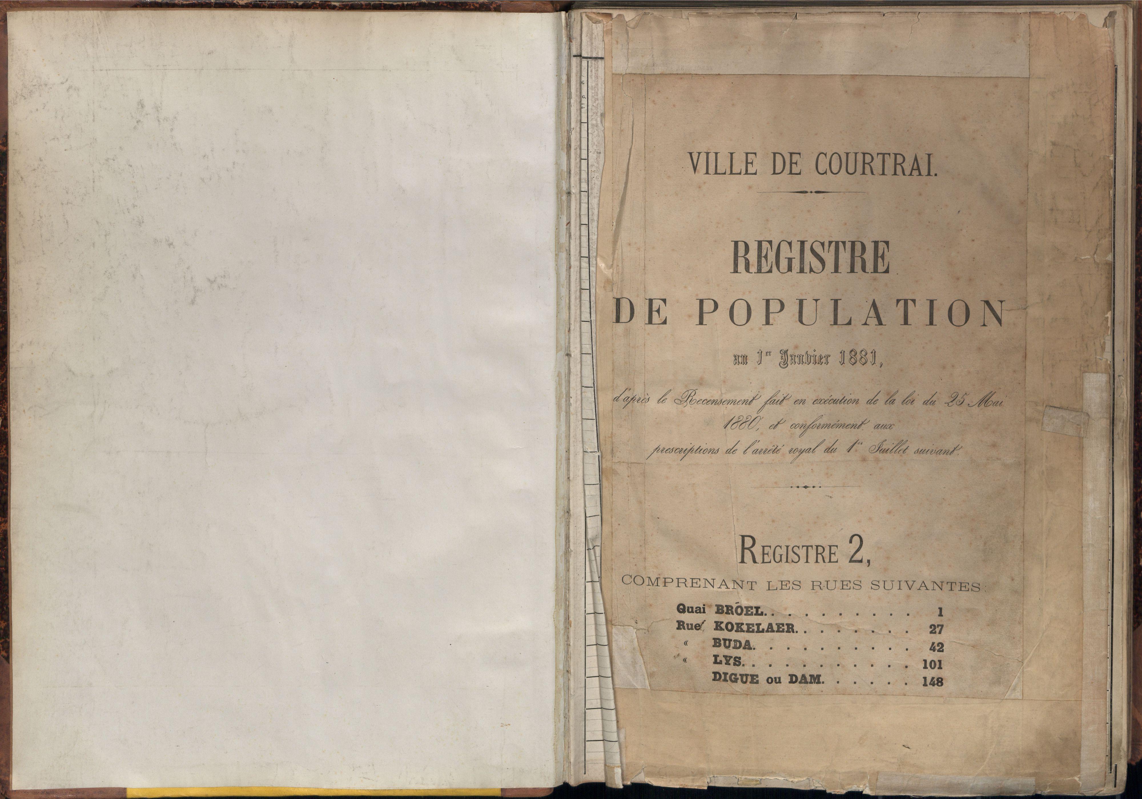 Bevolkingsregister Kortrijk 1880 boek 2