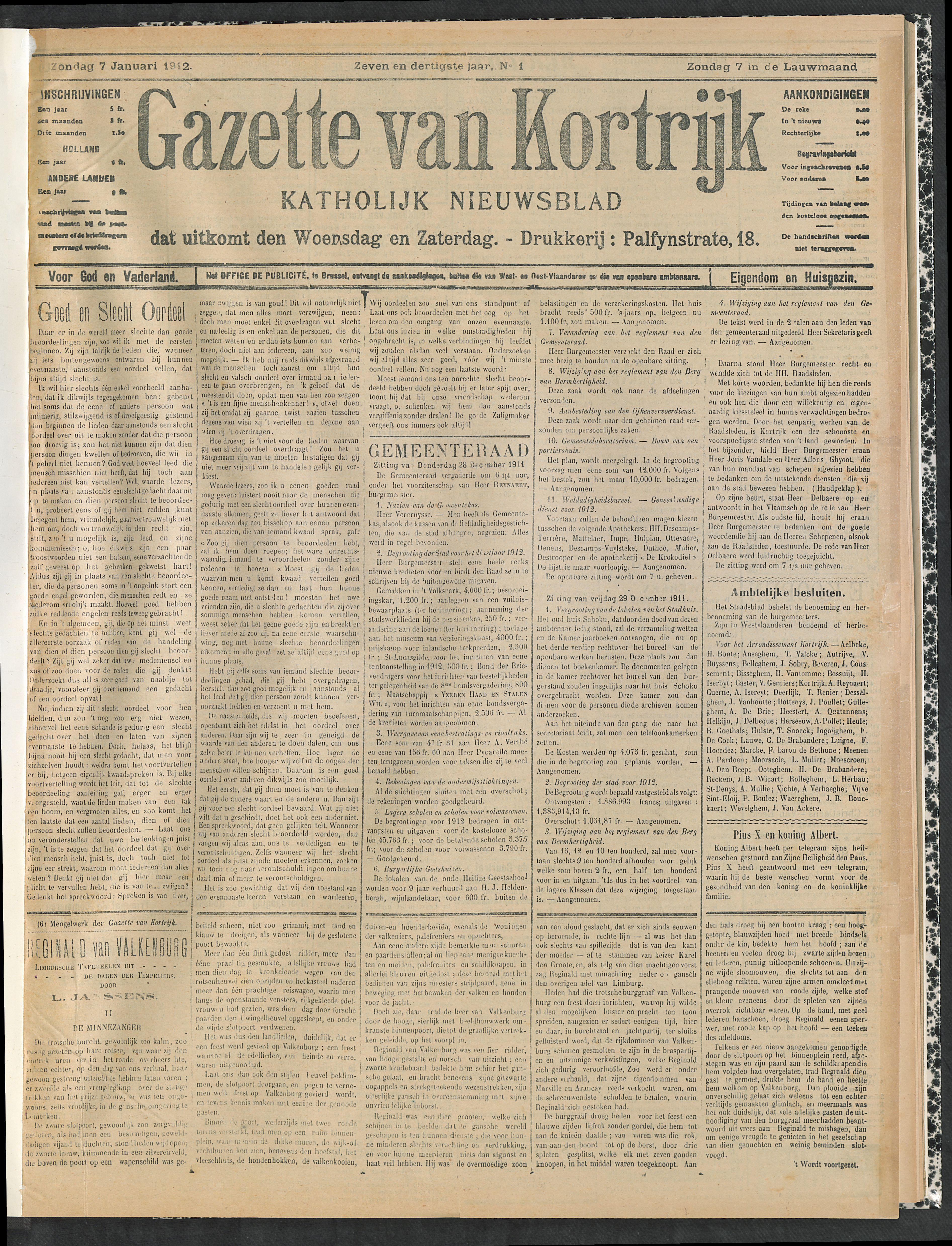 Gazette Van Kortrijk 1912-01-07 p1