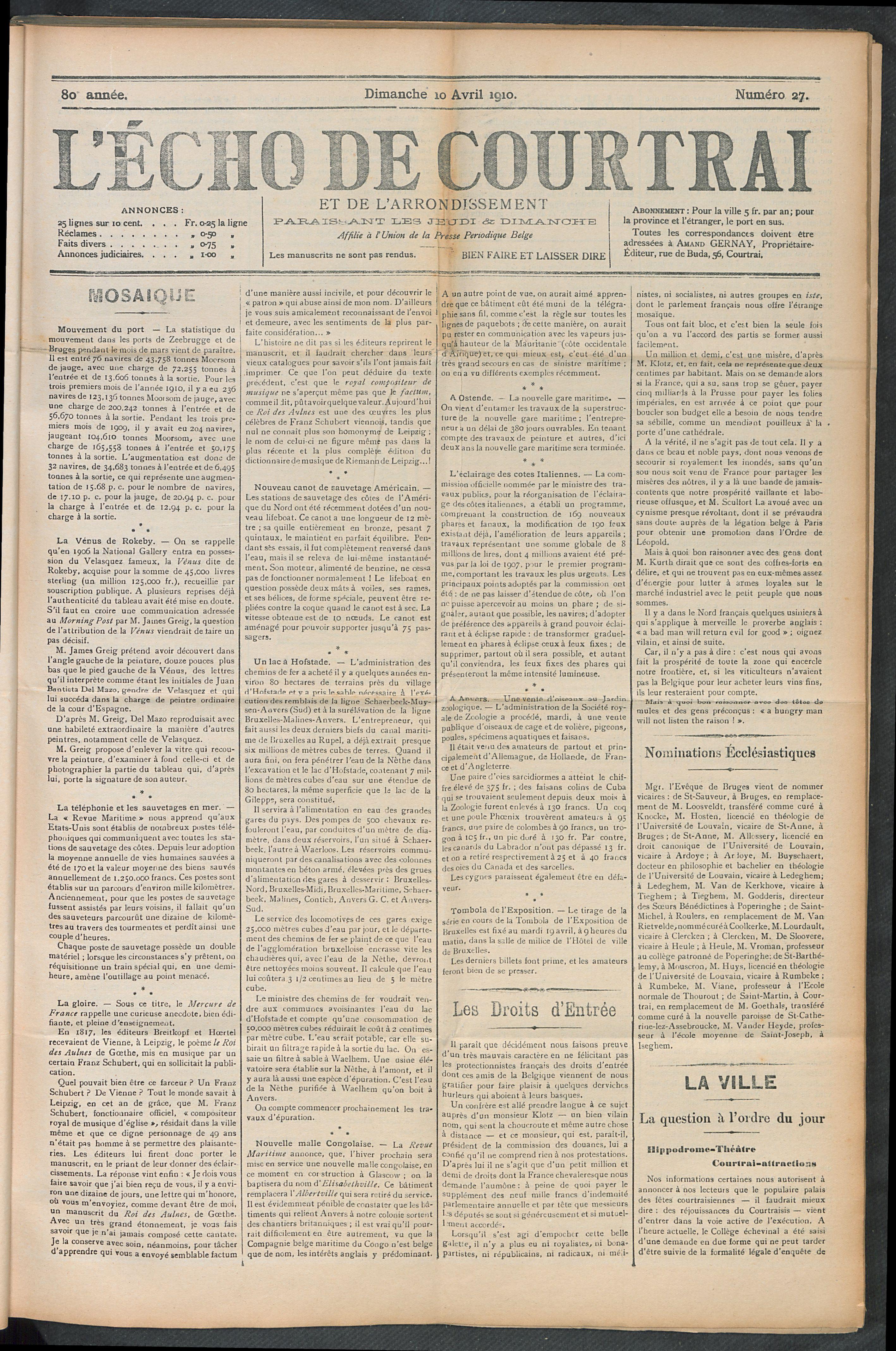 L'echo De Courtrai 1910-04-10 p1