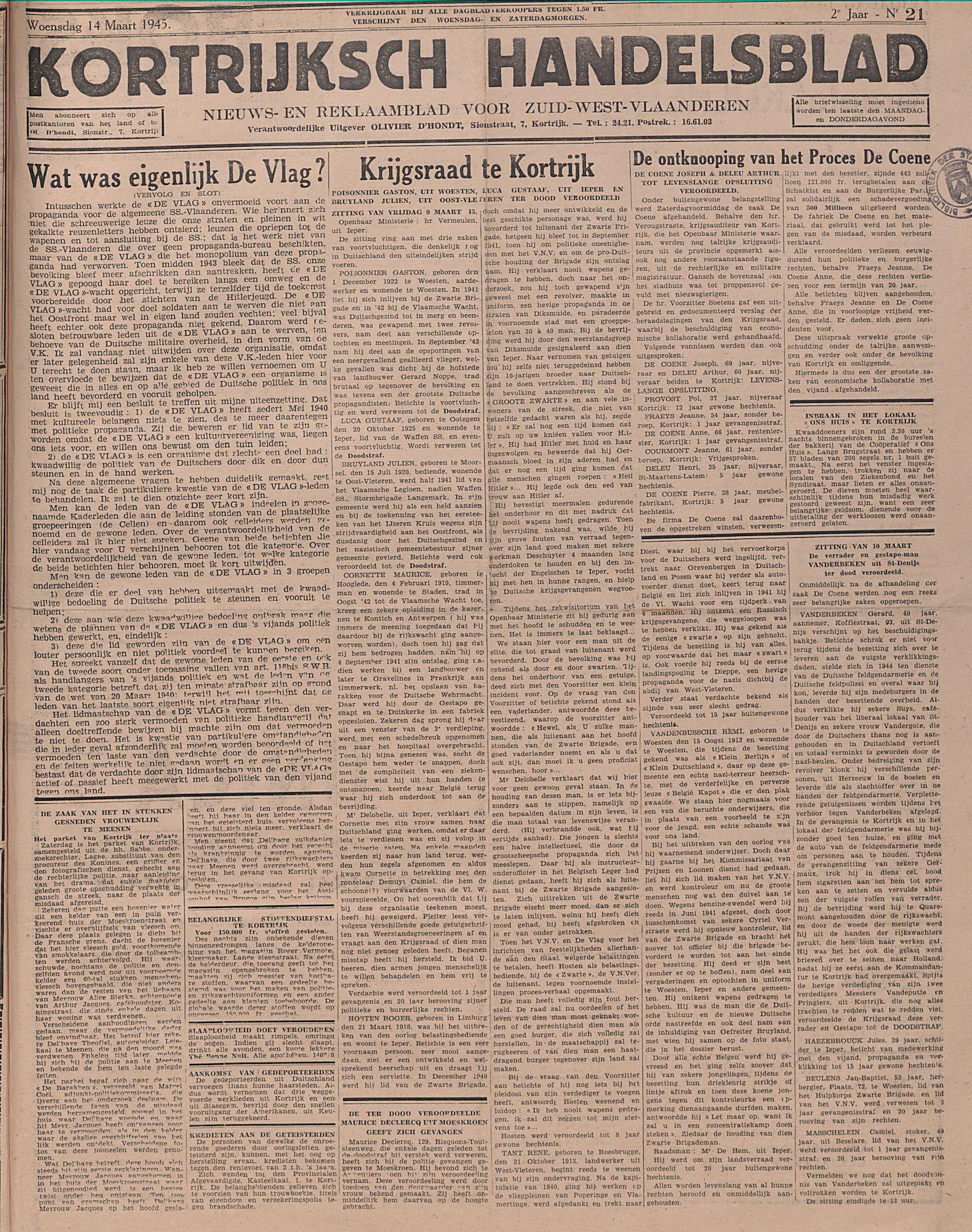 Kortrijksch Handelsblad 14 maart 1945 Nr21 p1