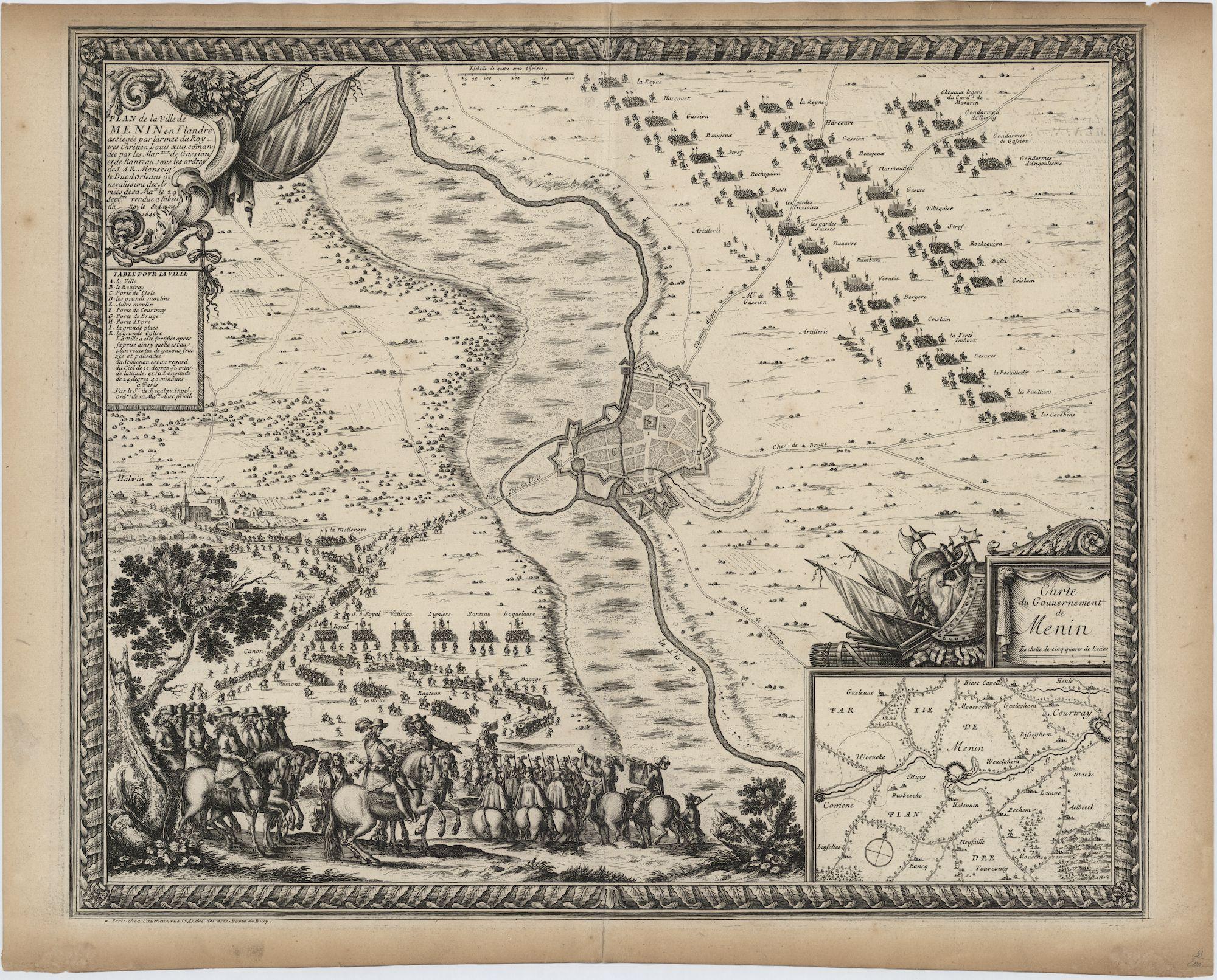 Westflandrica - Menen, kaart van de stad en de omgeving tijdens de belegering