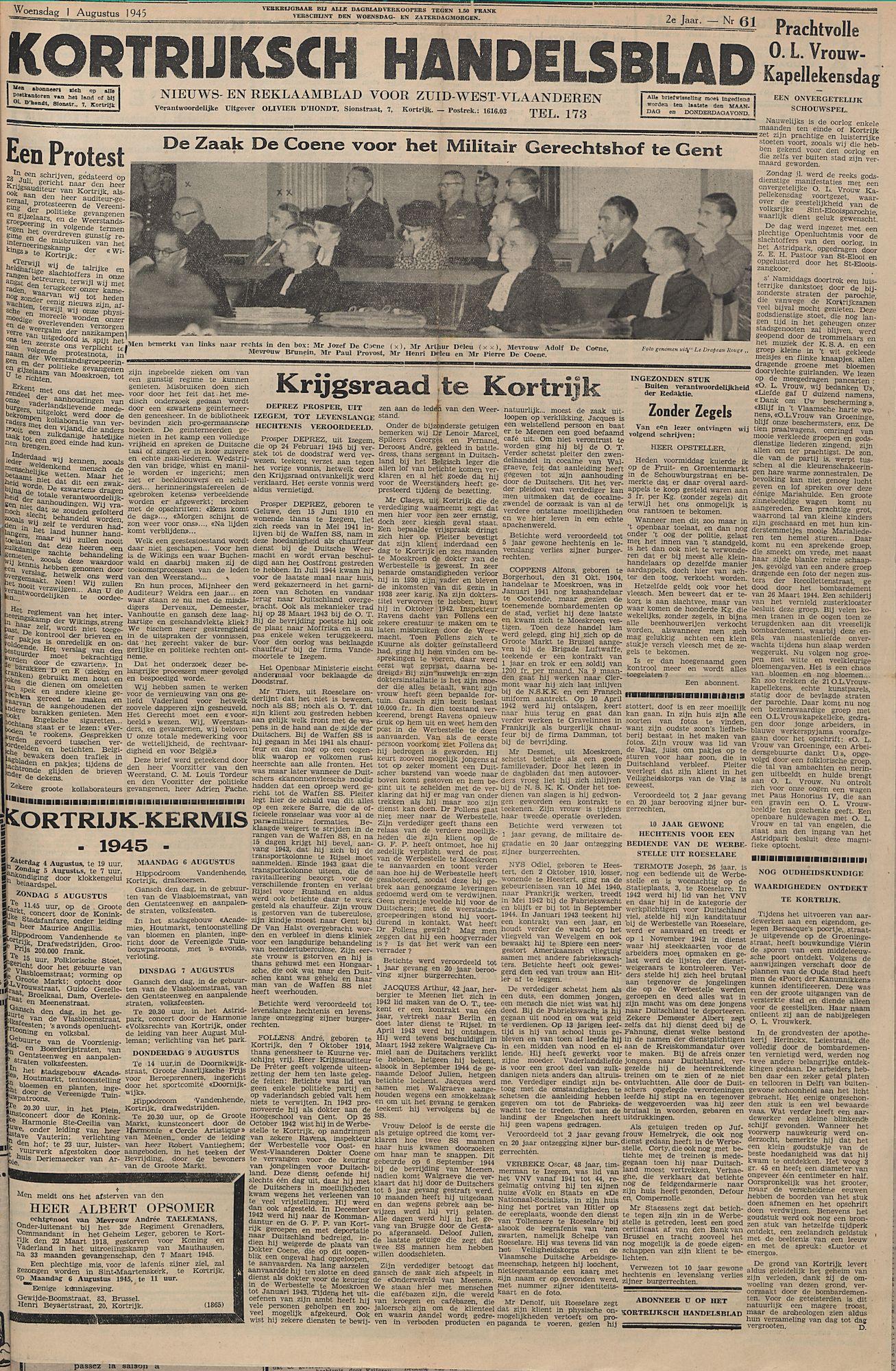 Kortrijksch Handelsblad 1 augustus 1945 Nr61 p1