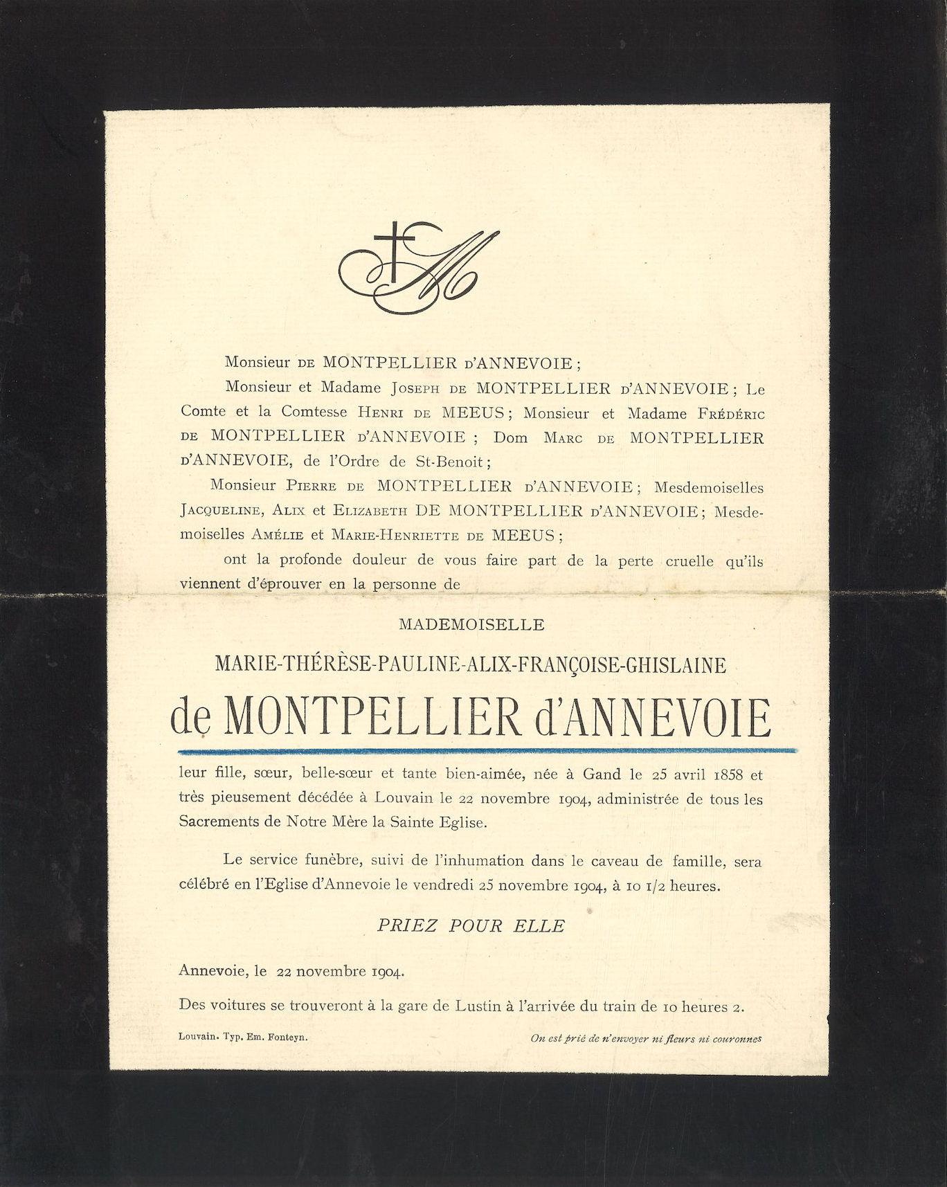 Marie-Thérèse-Pauline-Alix-Françoise-Ghislaine de Montpellier d' Annevoie
