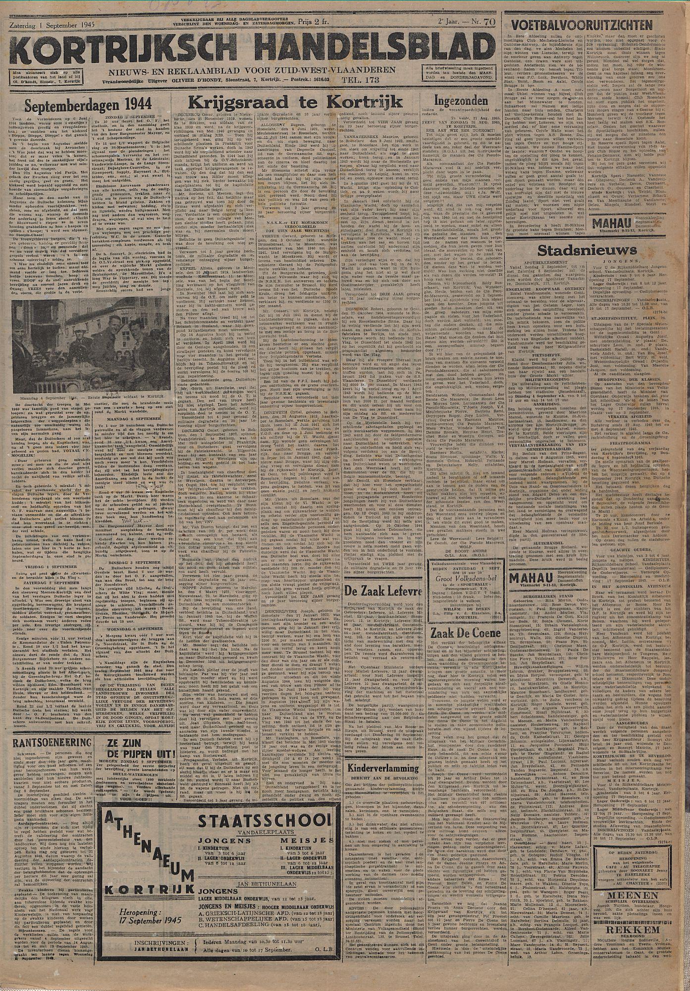 Kortrijksch Handelsblad 1 september 1945 Nr70 p1