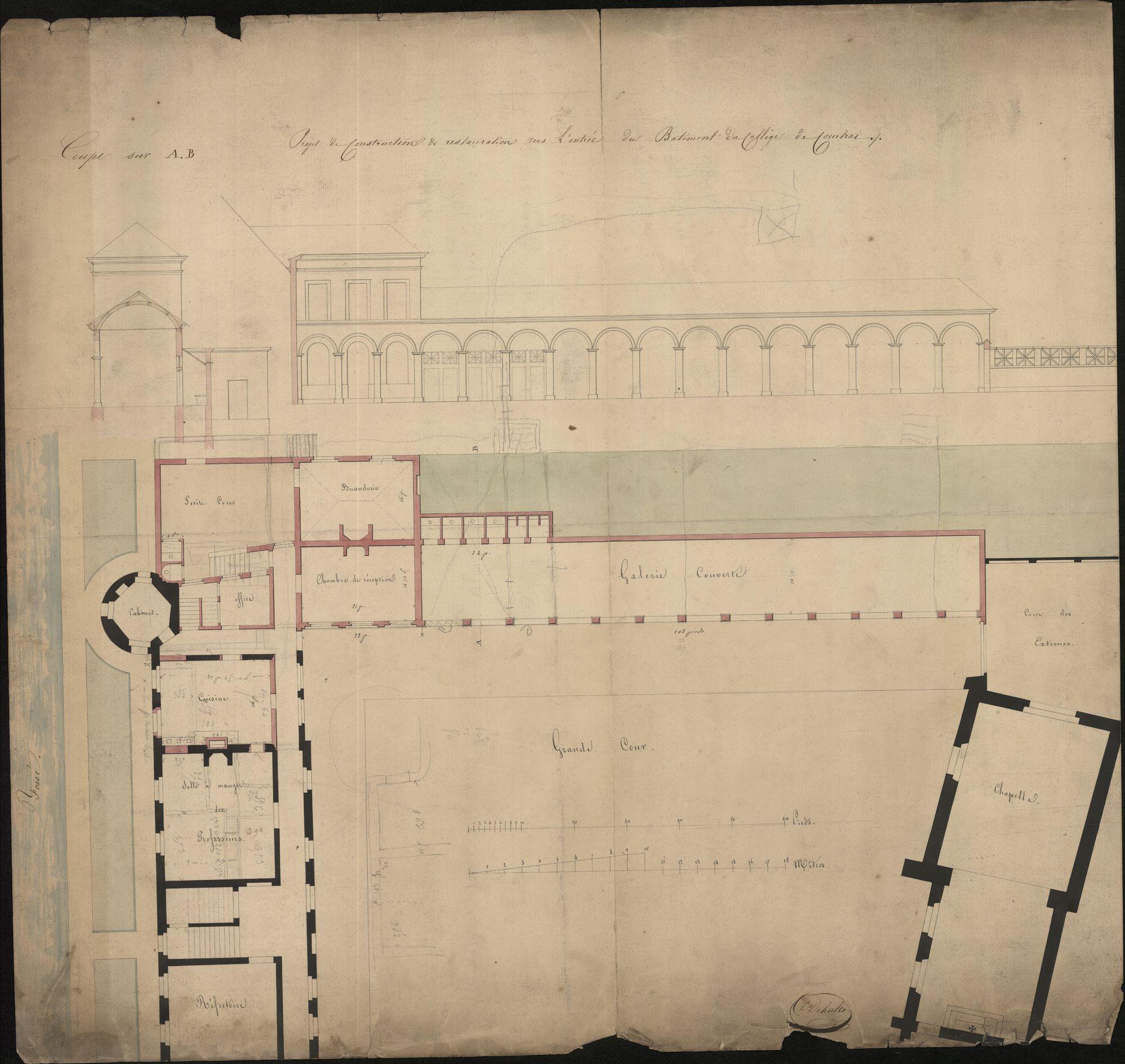 Bouwplannen van het Sint-Amandscollege te Kortrijk, 1849