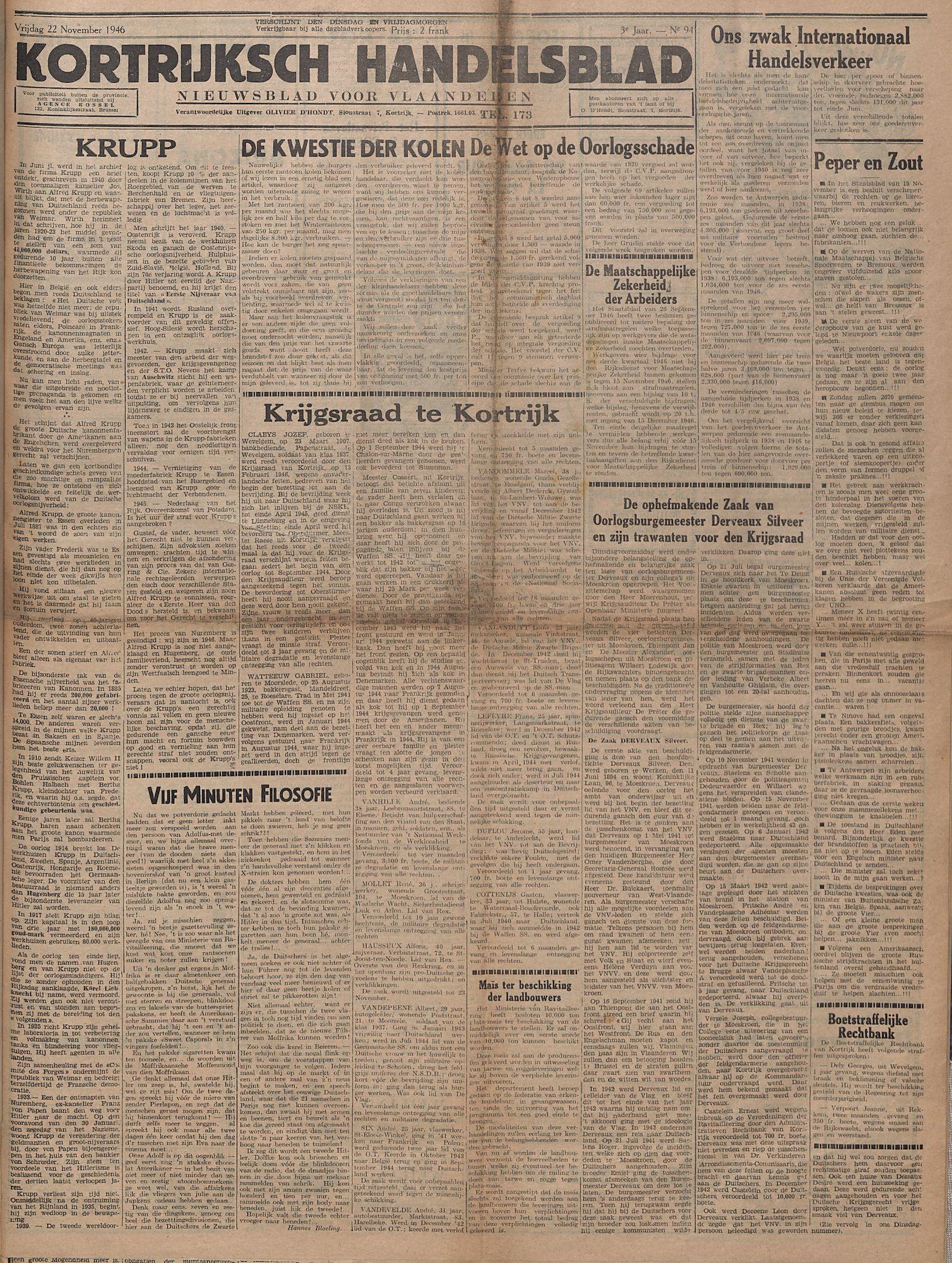Kortrijksch Handelsblad 22 november 1946 Nr94 p1