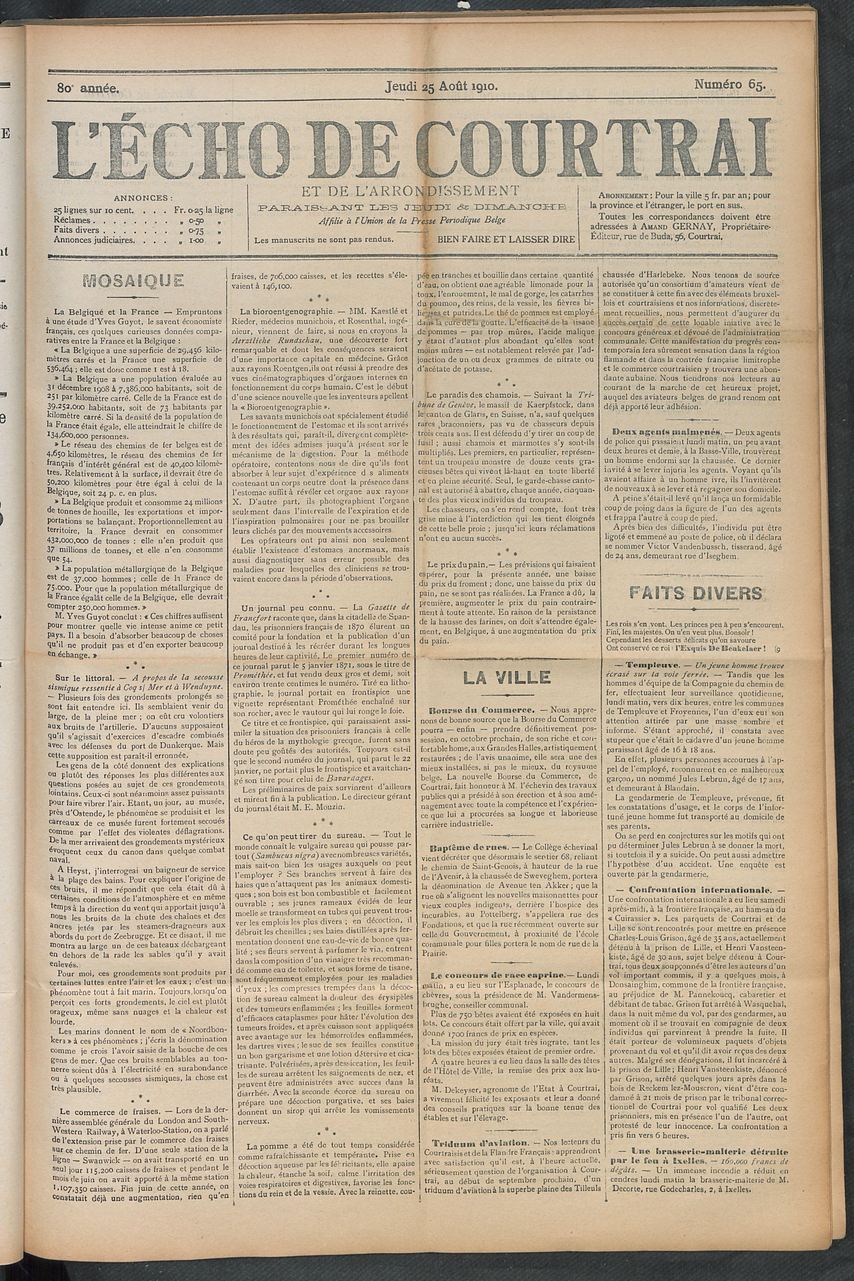 L'echo De Courtrai 1910-08-25 p1