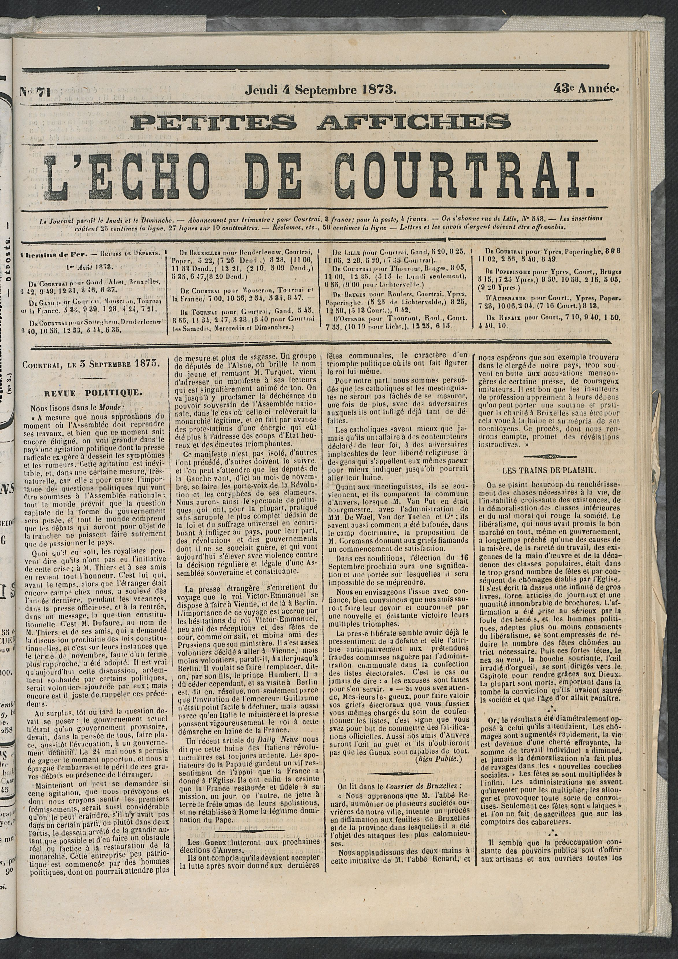 L'echo De Courtrai 1873-09-04 p1