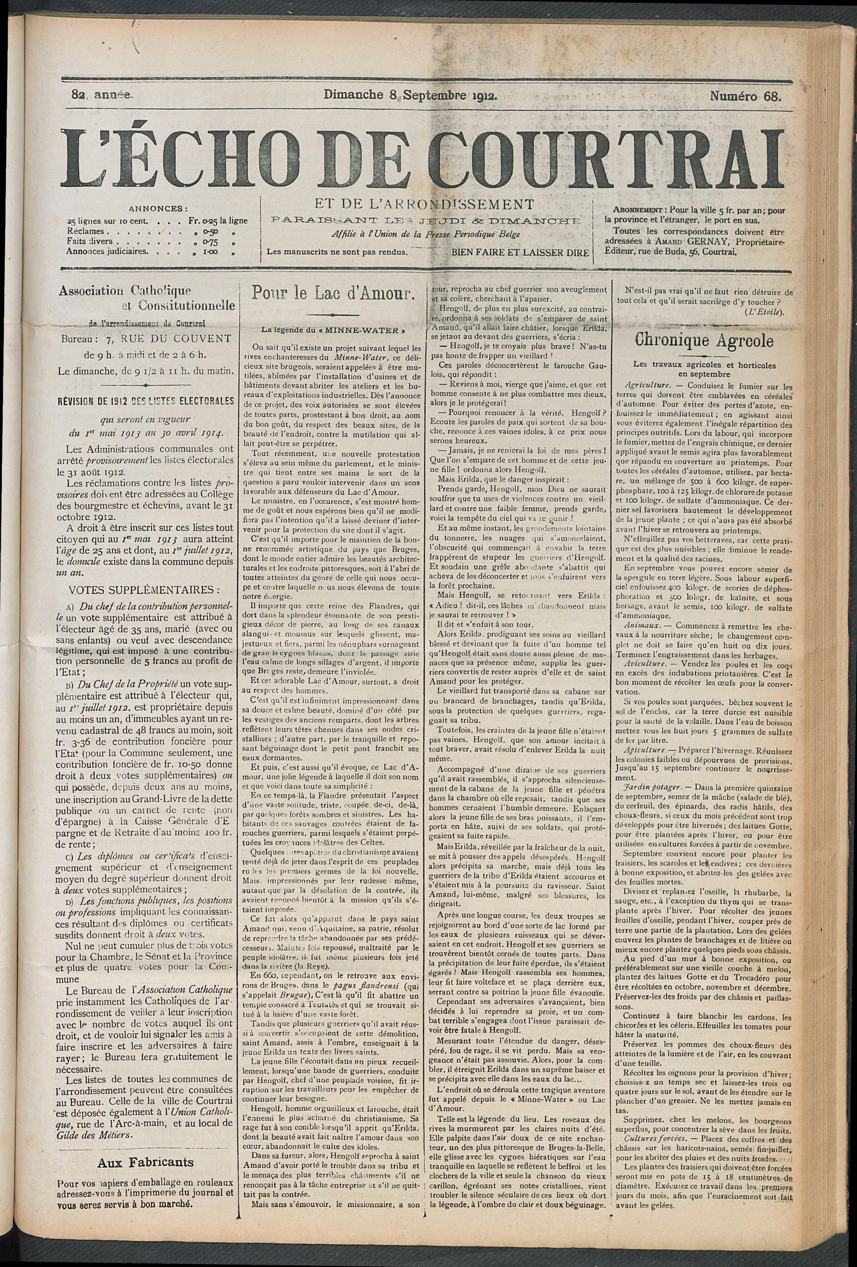 L'echo De Courtrai 1912-09-08 p1