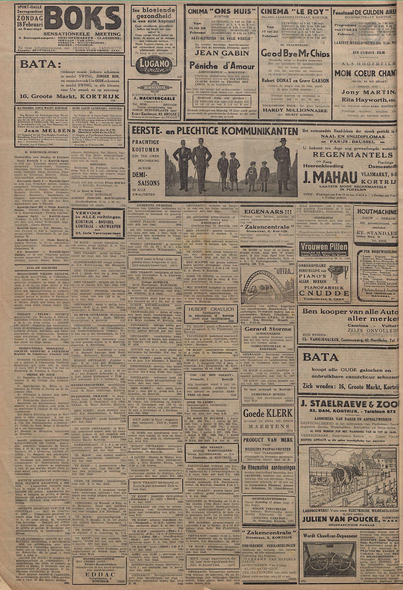 Kortrijksch Handelsblad 17 februari 1945 Nr14 p2