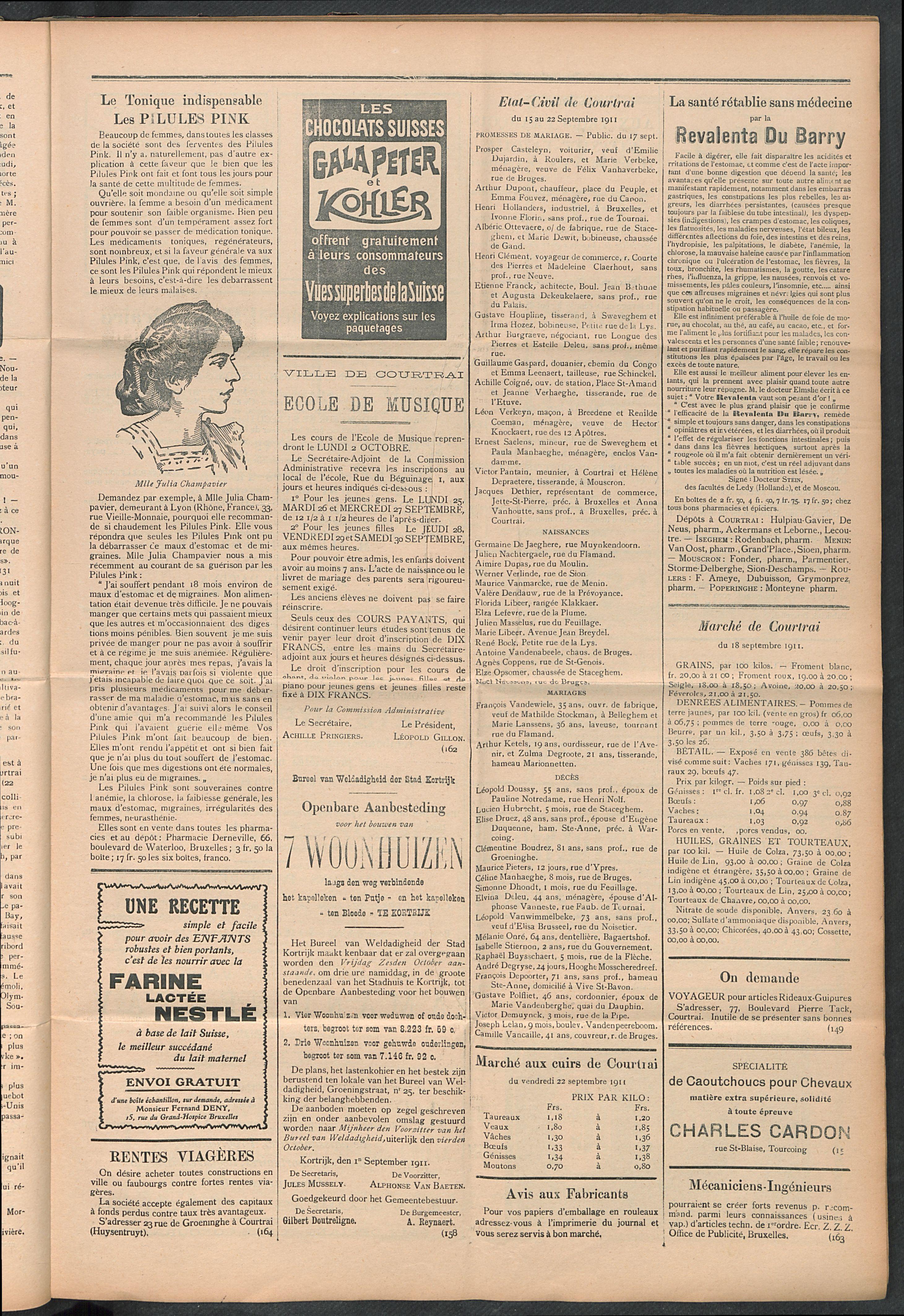 L'echo De Courtrai 1911-09-24 p3