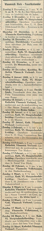 Vlaamsch Huis Feestkalander
