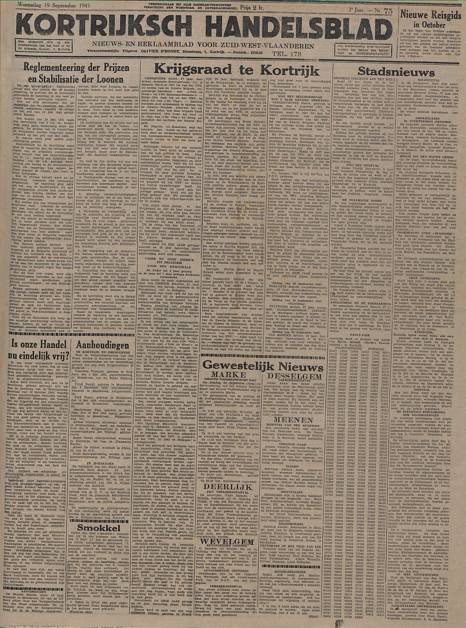 Kortrijksch Handelsblad 19 september 1945 Nr75 p1