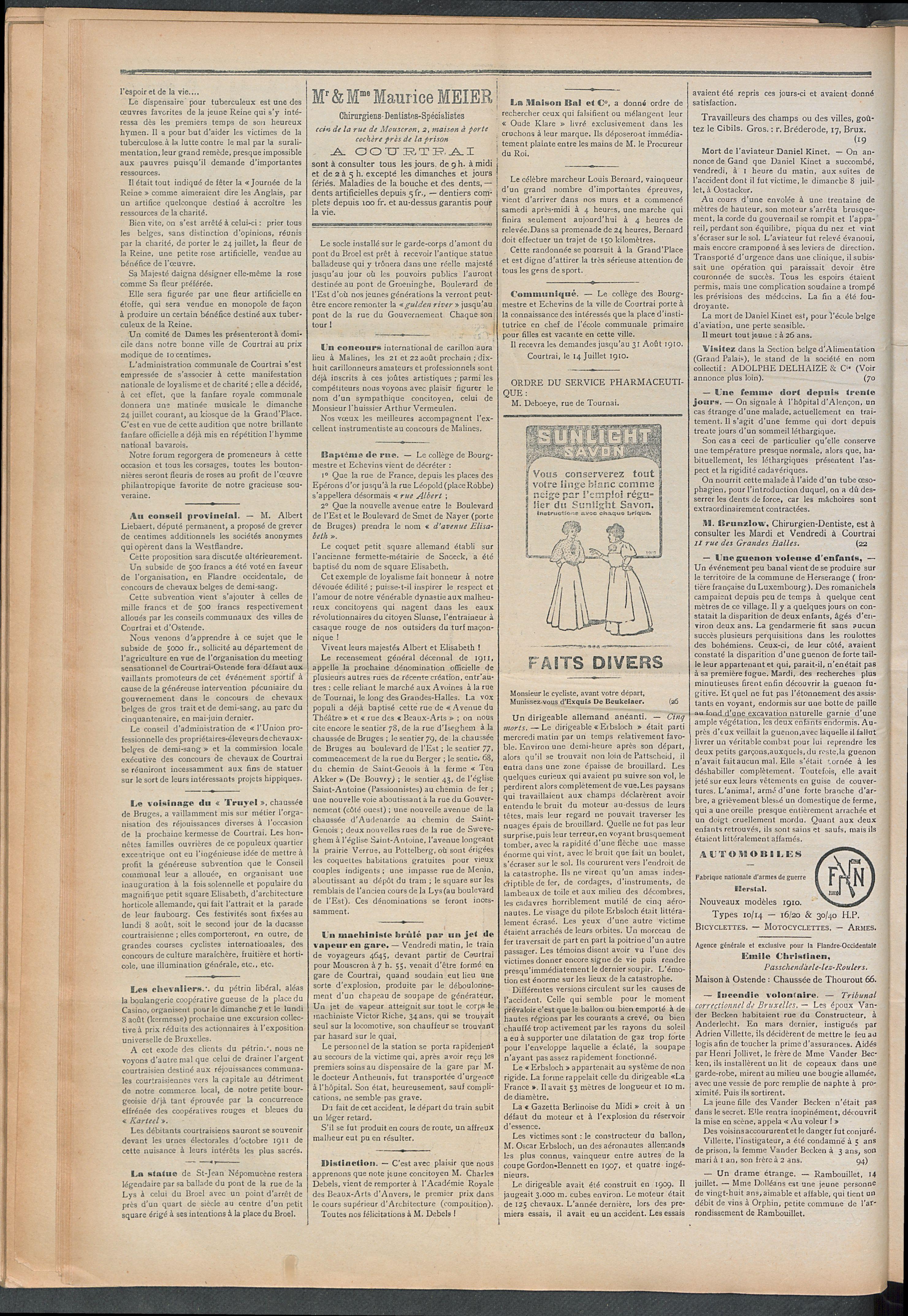 L'echo De Courtrai 1910-07-17 p2