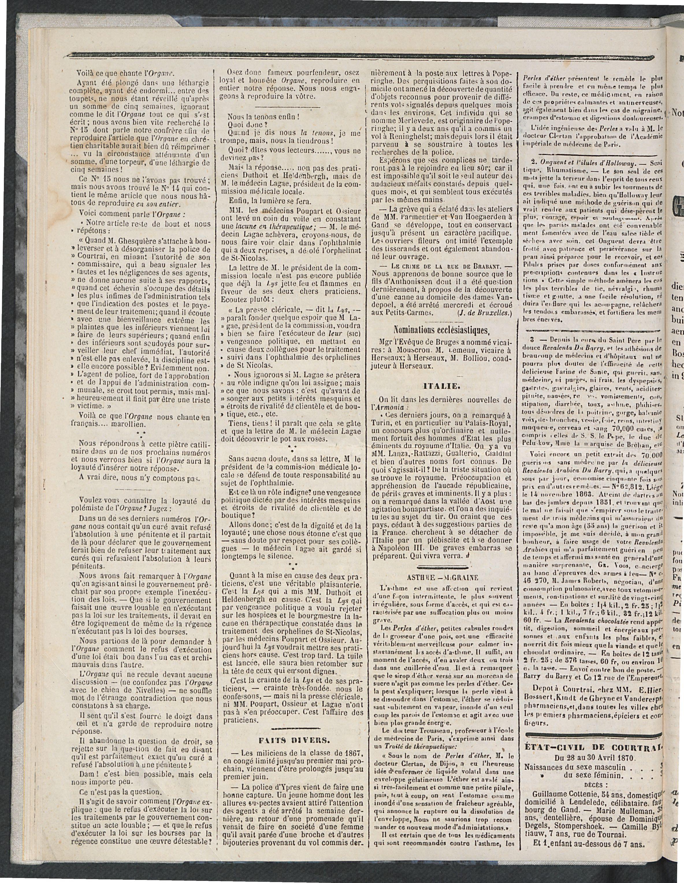 L'echo De Courtrai 1870-05-01 p2