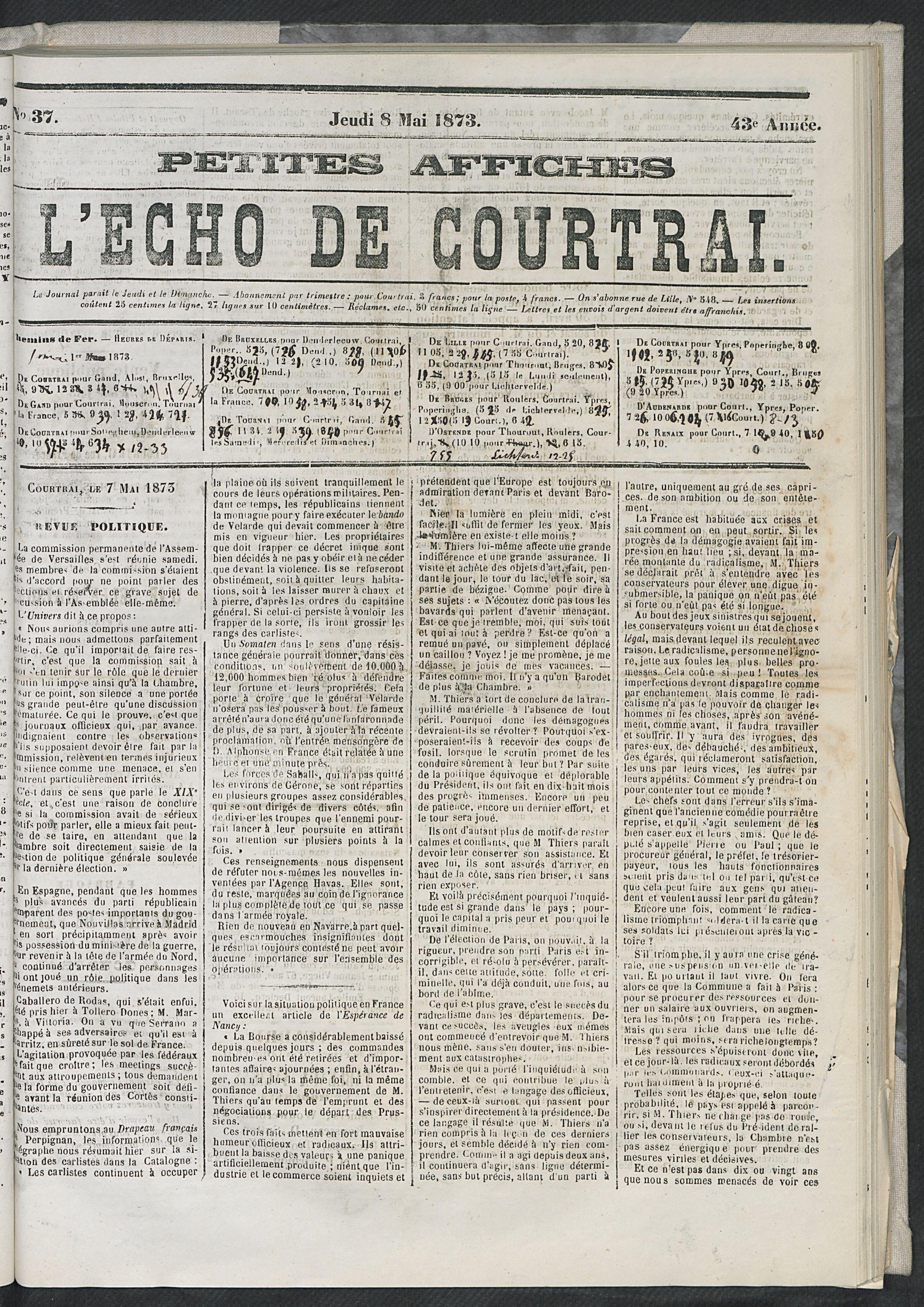 L'echo De Courtrai 1873-05-08 p1