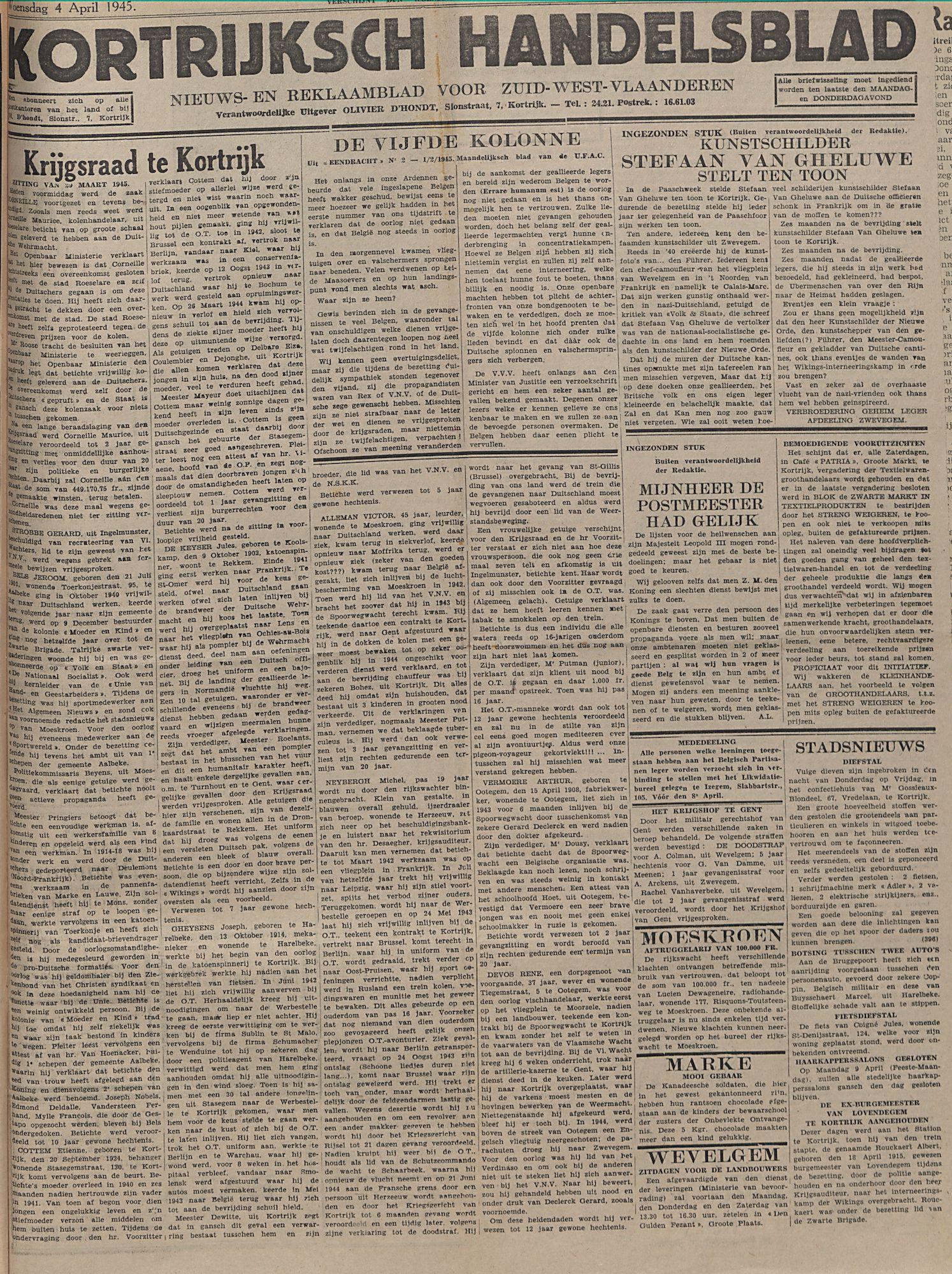 Kortrijksch Handelsblad 4 april 1945 Nr27 p1