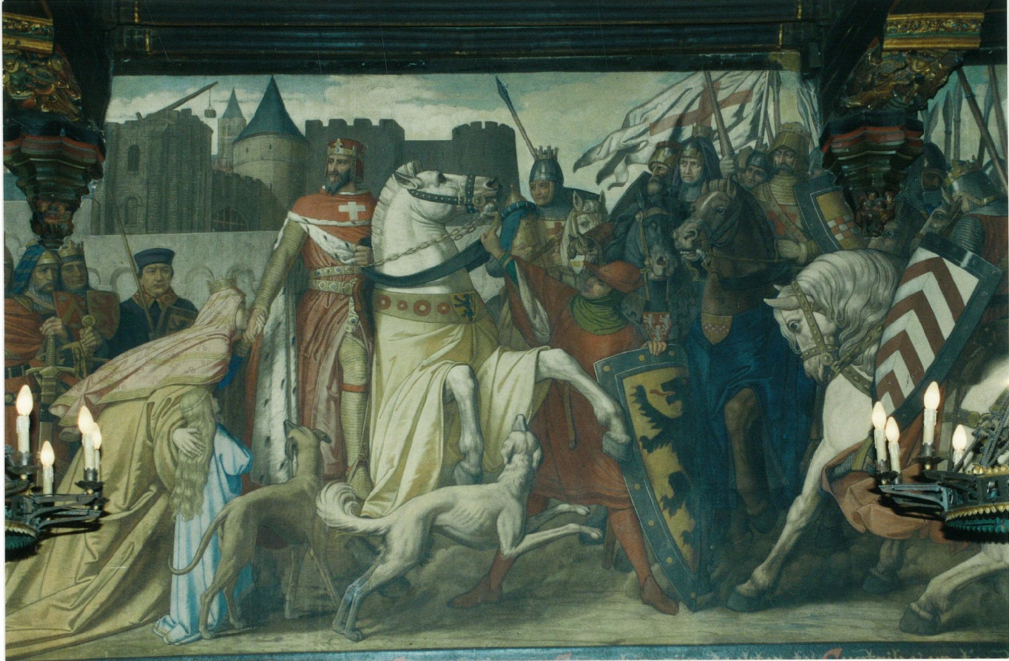 Muurschildering in de schepenzaal van het stadhuis